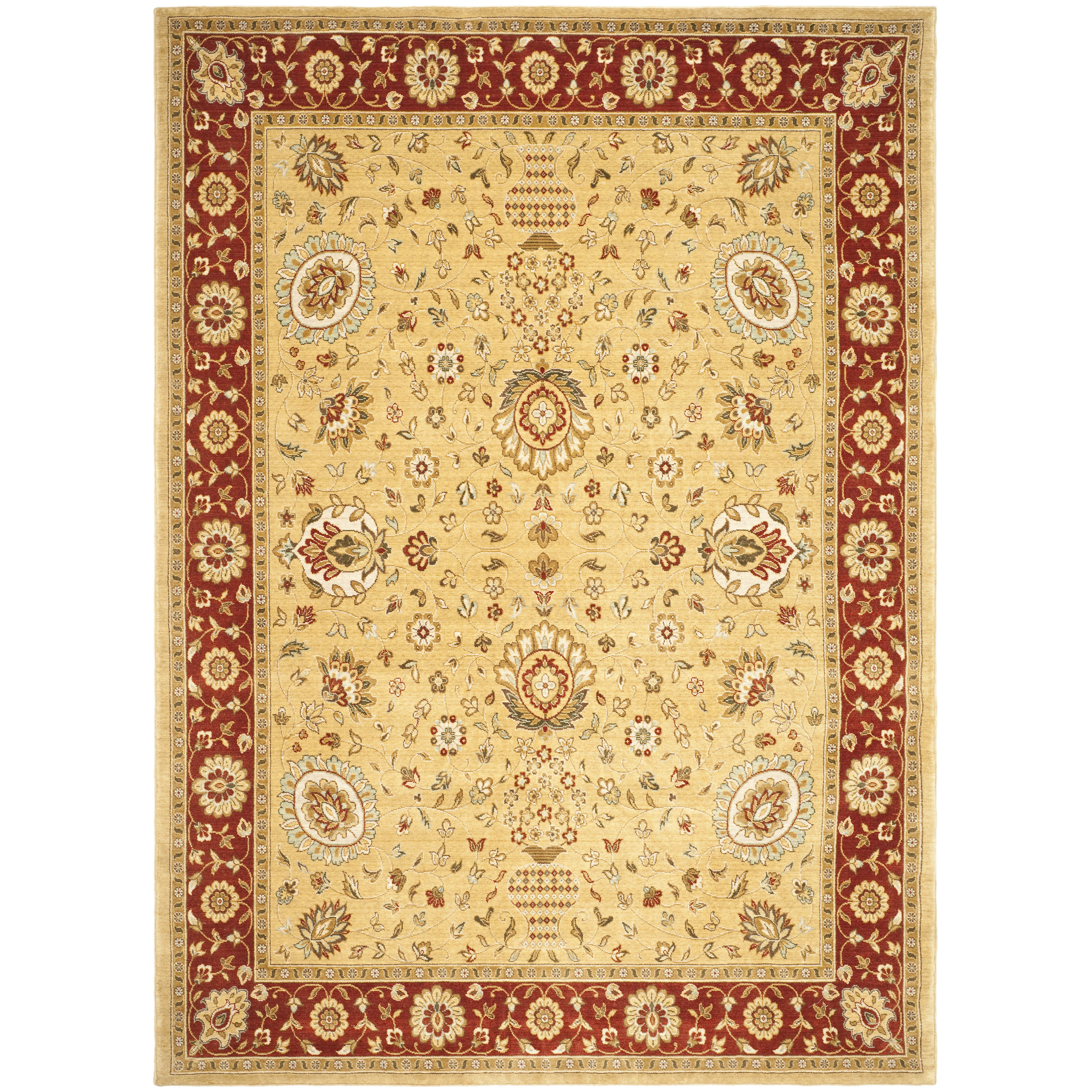 Safavieh tuscany gold red area rug wayfair for Red and gold area rugs