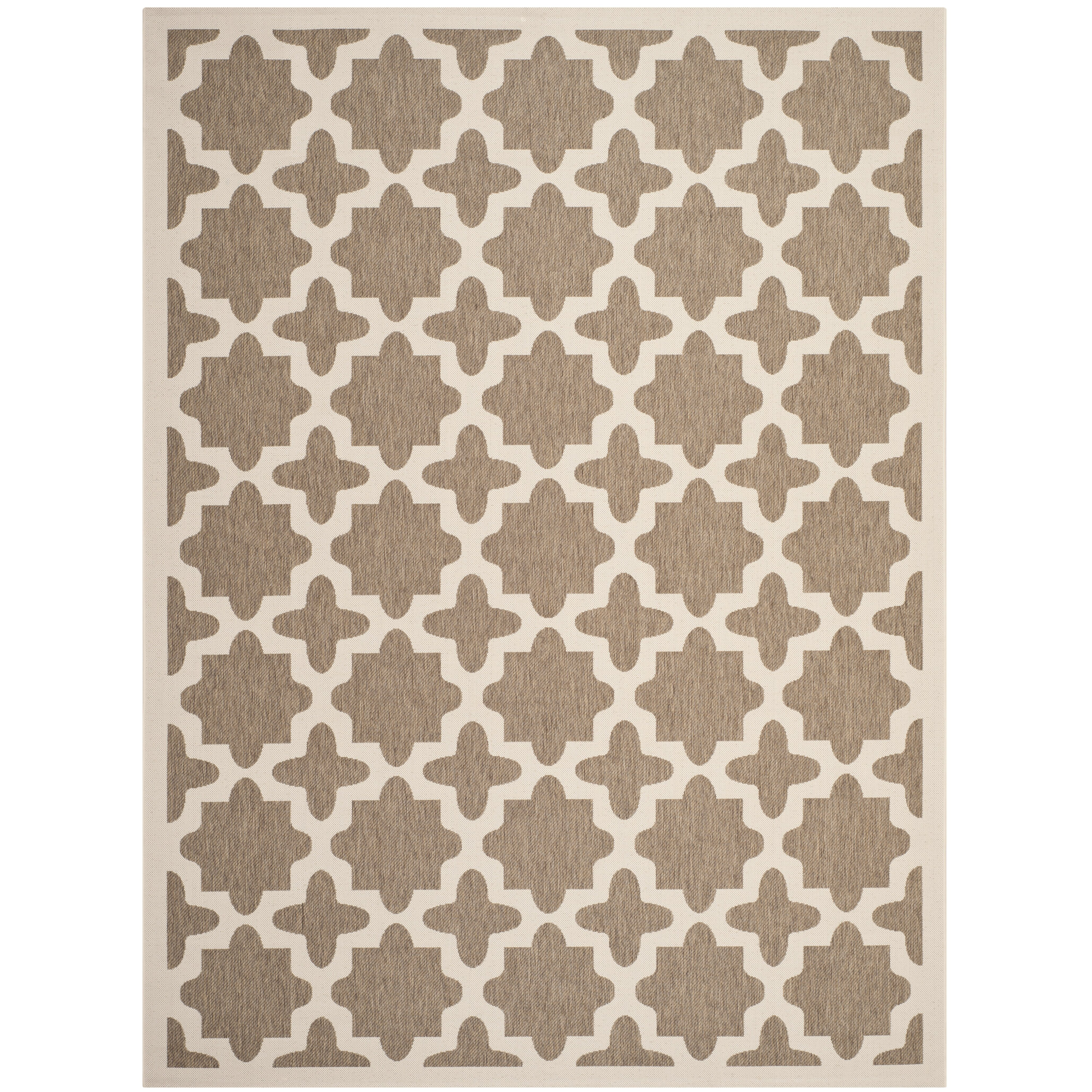 Safavieh Outdoor: Safavieh Courtyard Brown/Bone Indoor/Outdoor Area Rug