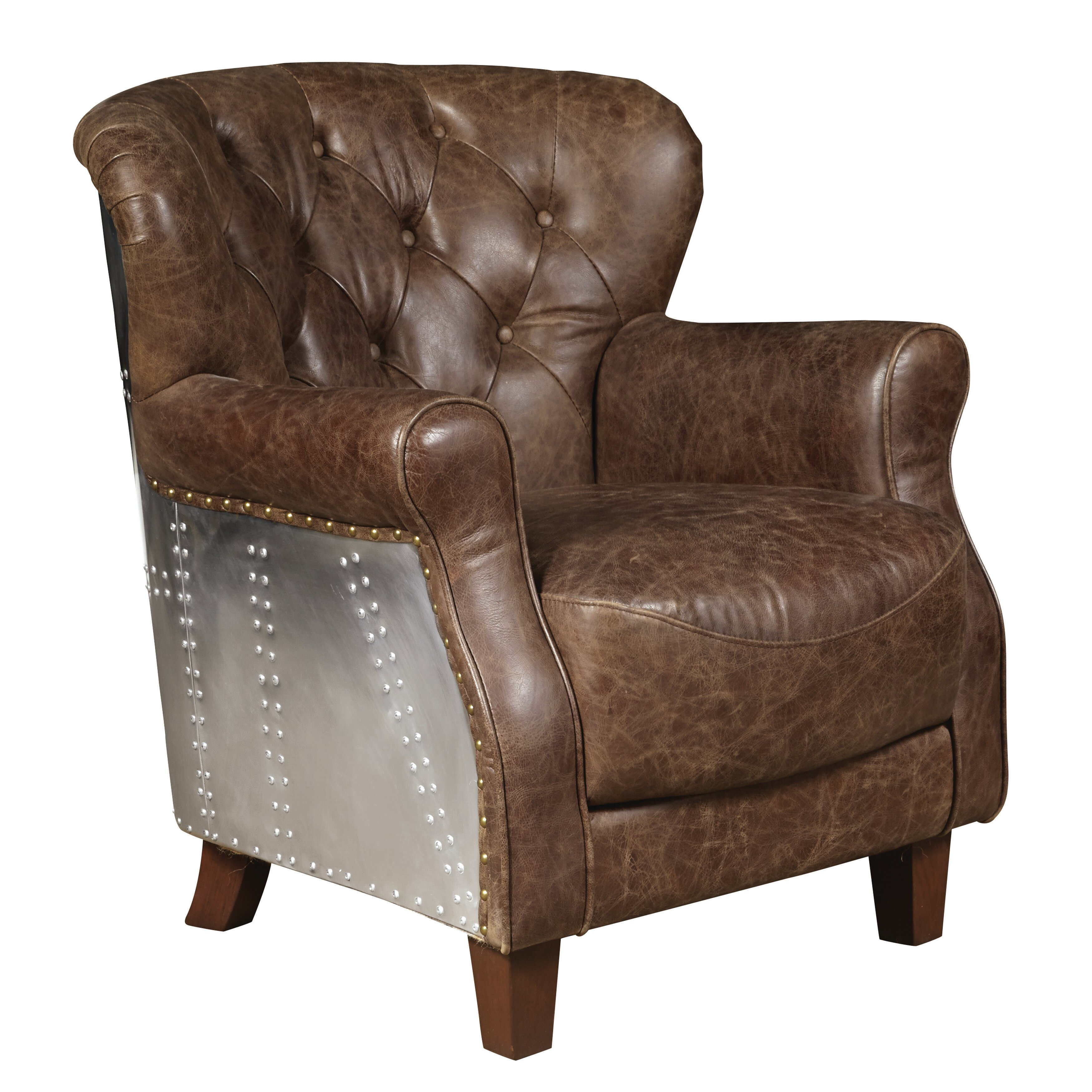 Highway Chief Leather Accent Chair Wayfair Ca