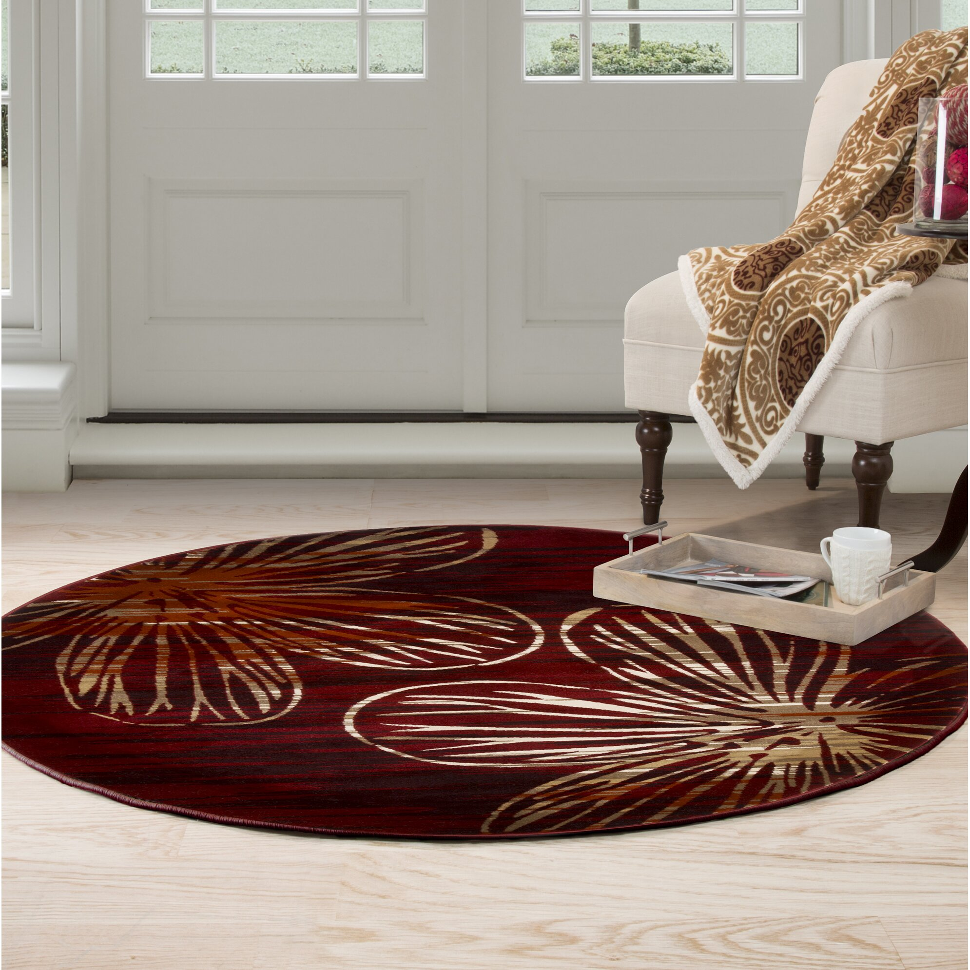 Plyh modern red area rug wayfair for Red area rugs contemporary