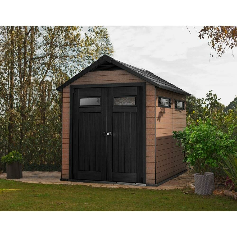 Keter fusion 7 5 ft w x 9 4 ft d wood plastic composite for Outdoor garden shed
