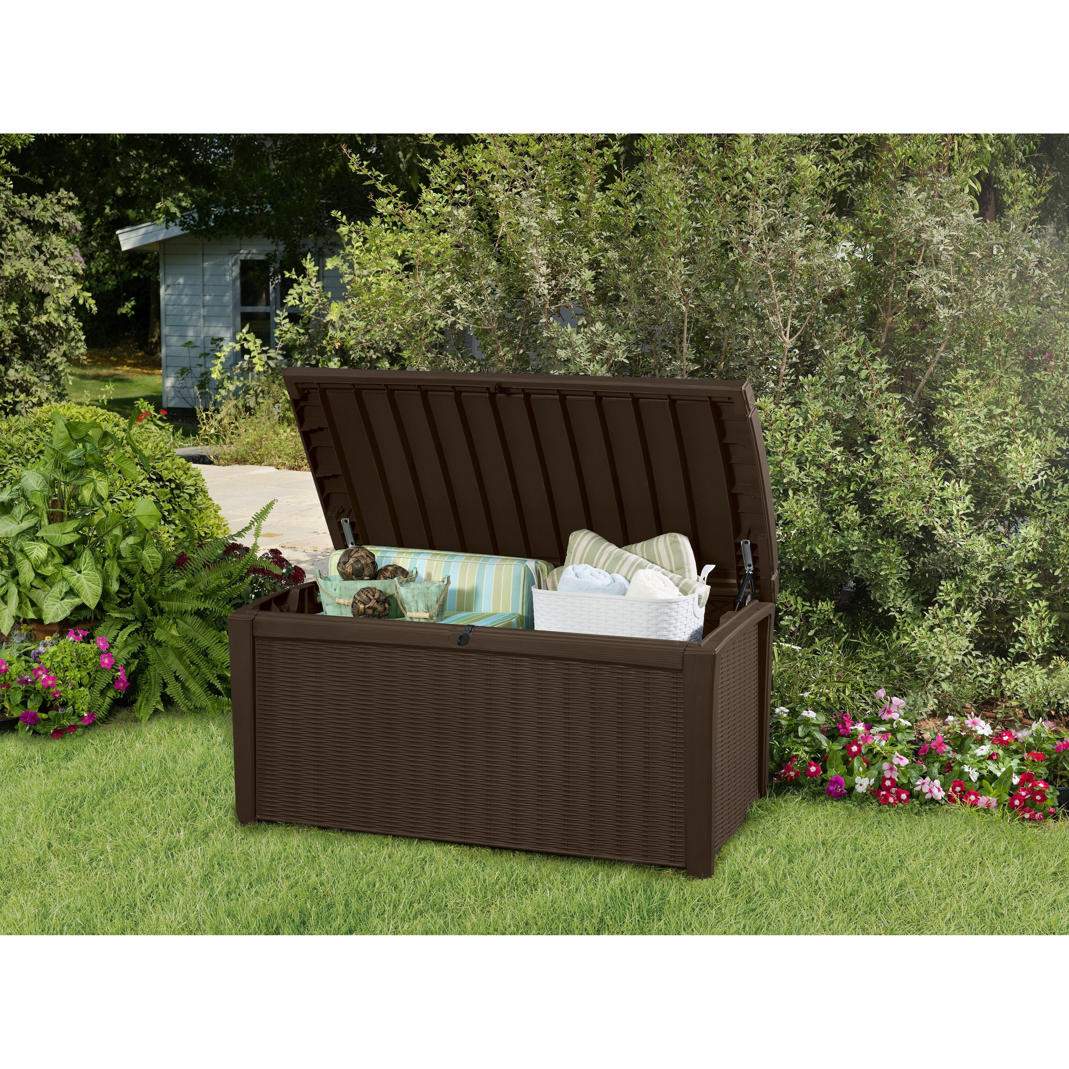 keter borneo 110 gallon plastic outdoor storage deck box reviews wayfair. Black Bedroom Furniture Sets. Home Design Ideas