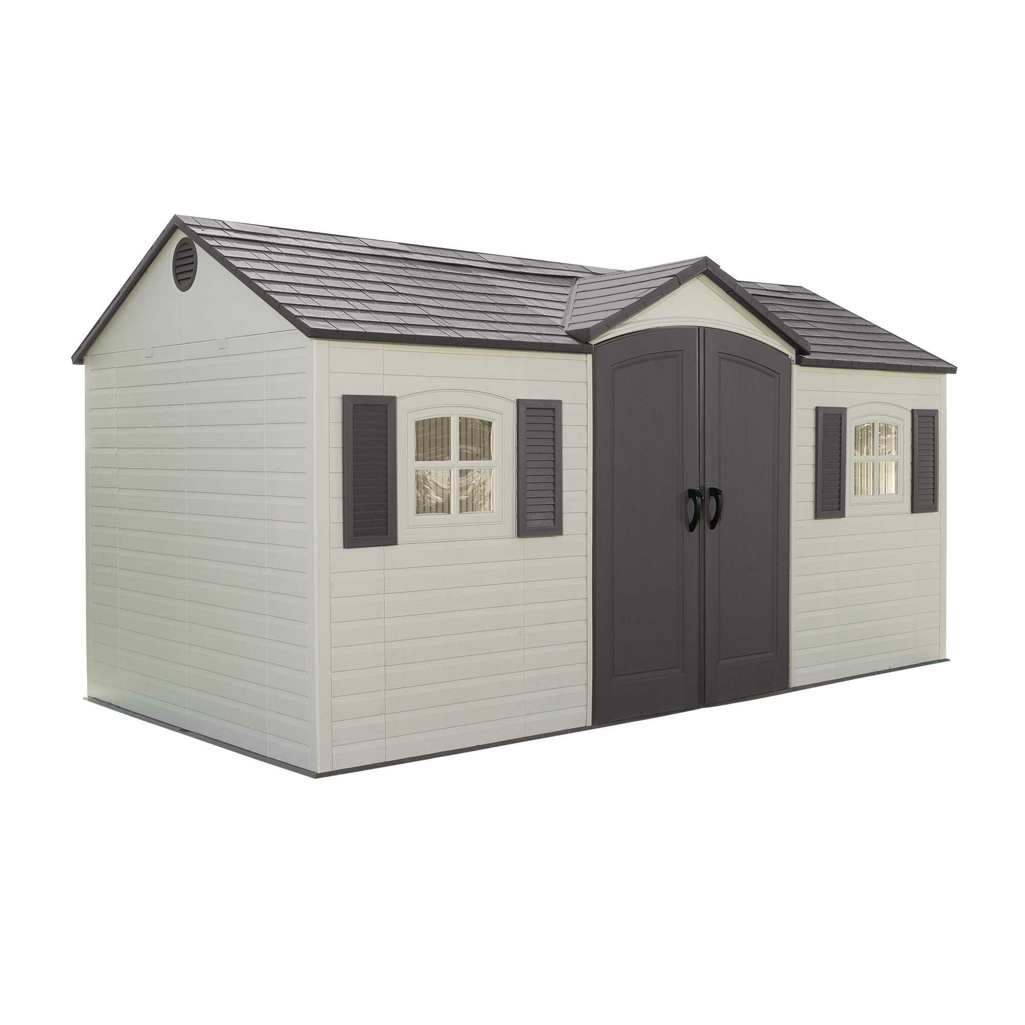 Lifetime side entry 15 ft w x 8 ft d plastic storage for Side of the house storage shed