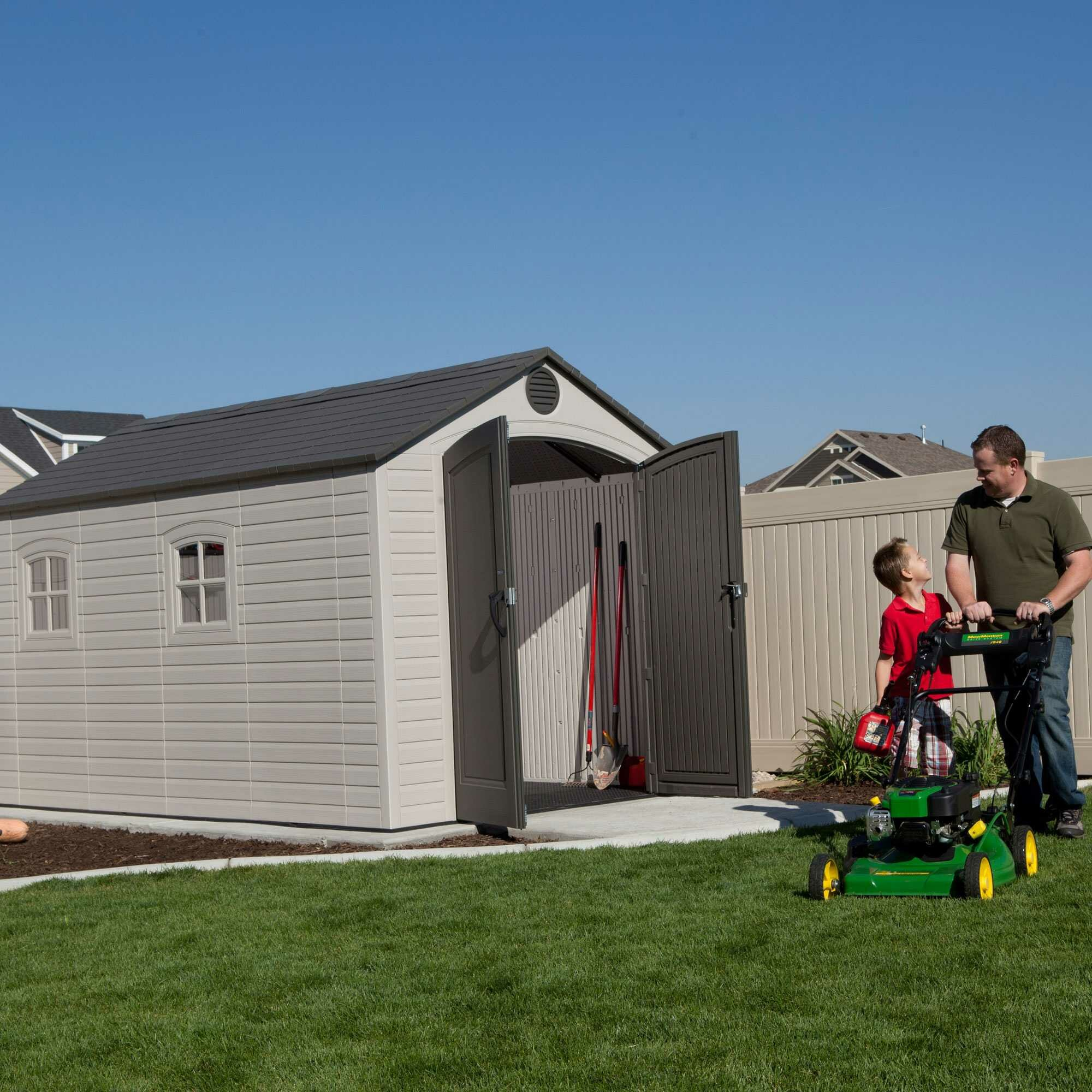 Lifetime 8 ft w x 12 ft d plastic storage shed reviews for Large backyard sheds