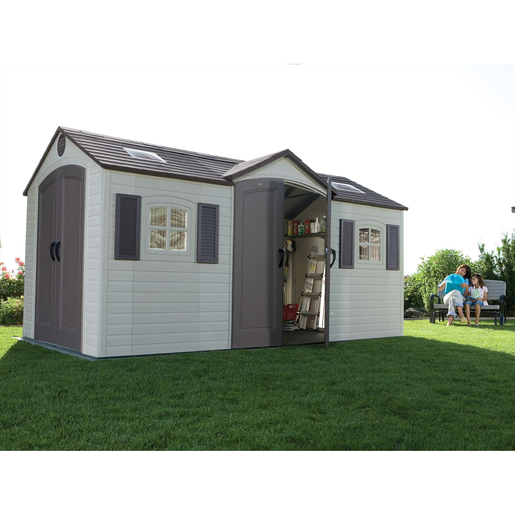 Lifetime dual entry 8 ft w x 15 ft d steel and plastic for Garden shed 2 x 2