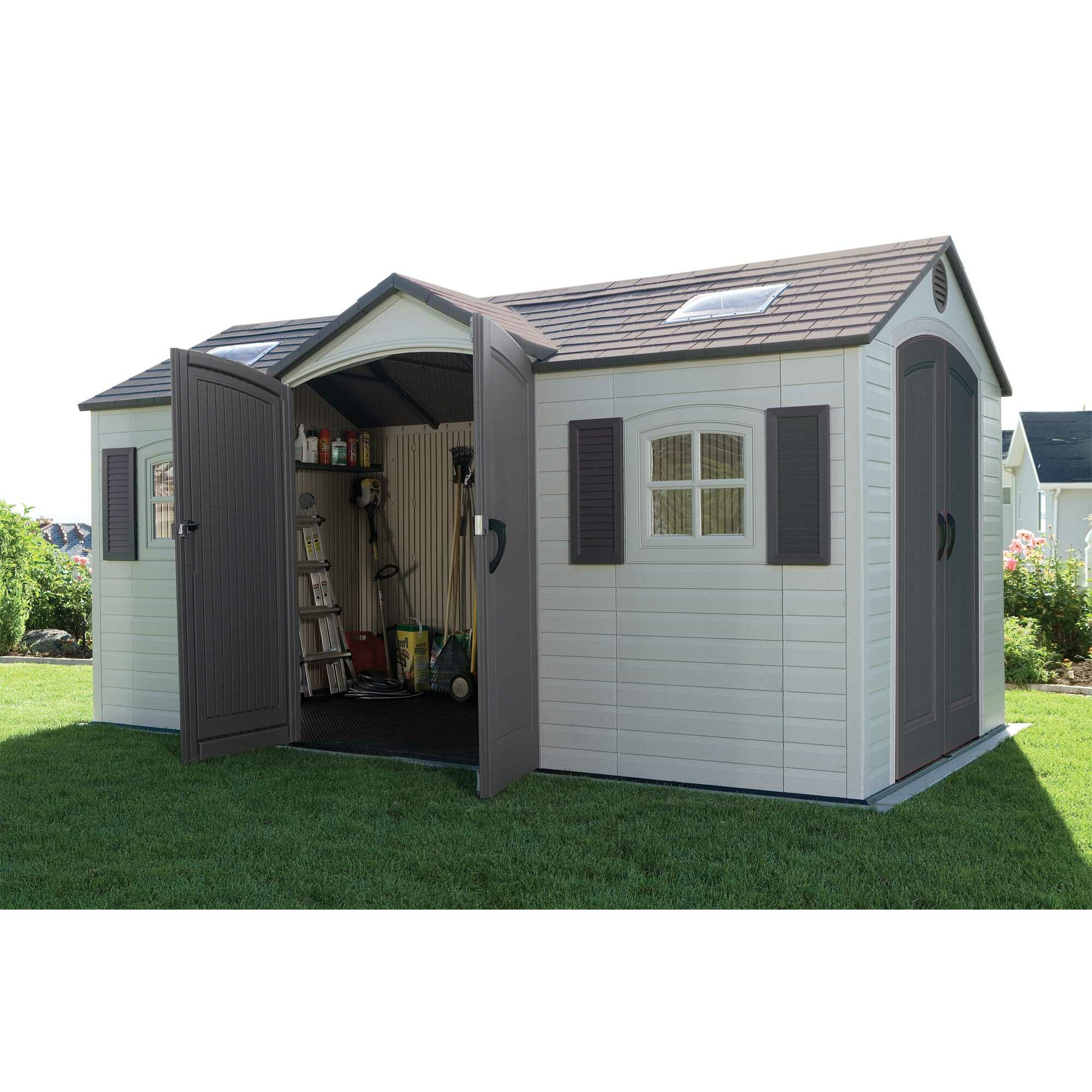 Lifetime dual entry 8 ft w x 15 ft d steel and plastic for Outdoor garden shed