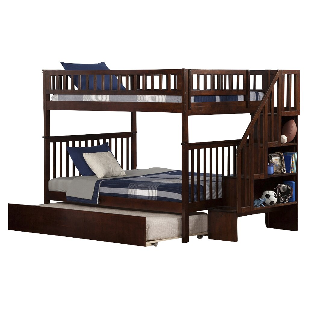 Atlantic Furniture Woodland Full Over Full Bunk Bed With Trundle Reviews Wayfair