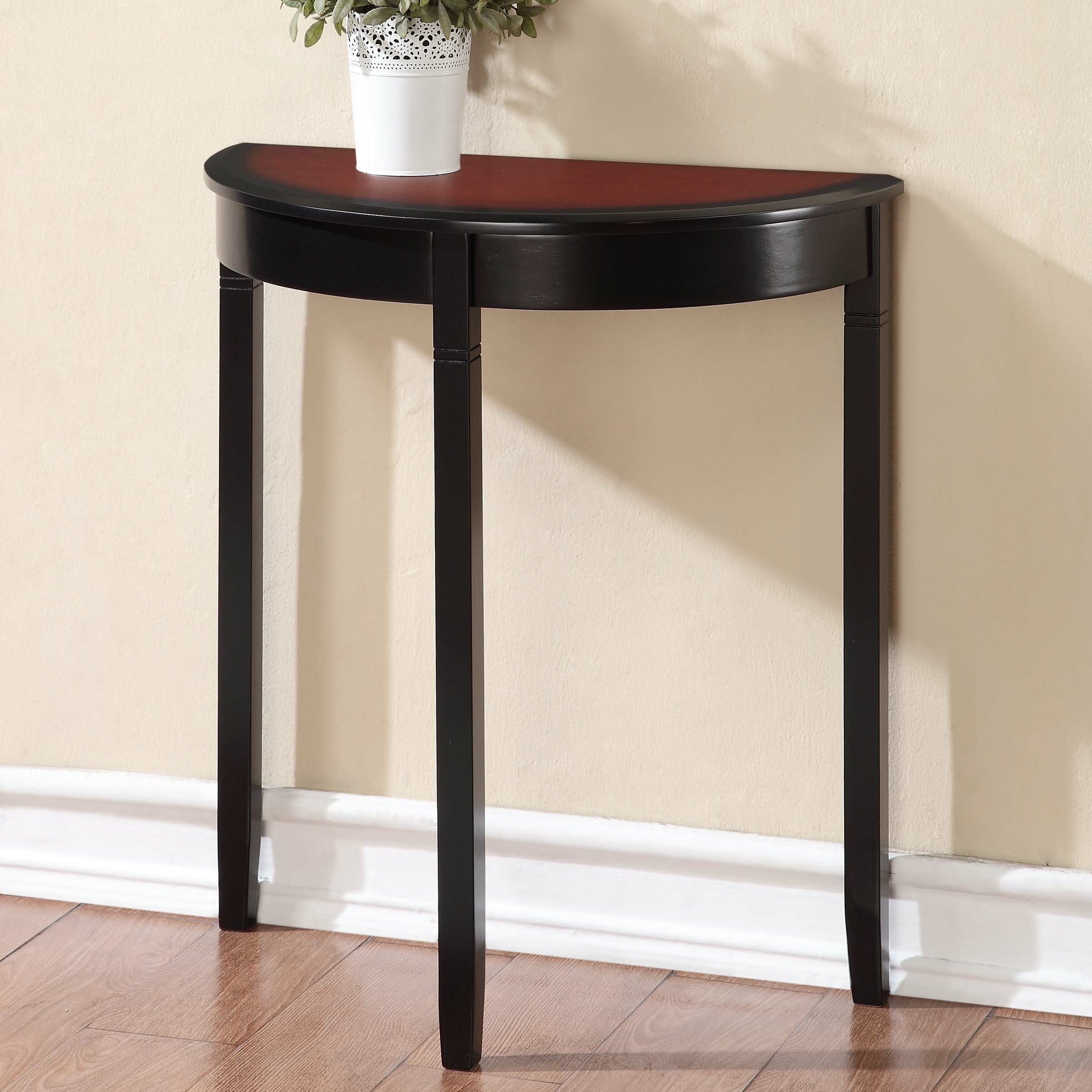 linon camden demilune console table reviews wayfair. Black Bedroom Furniture Sets. Home Design Ideas