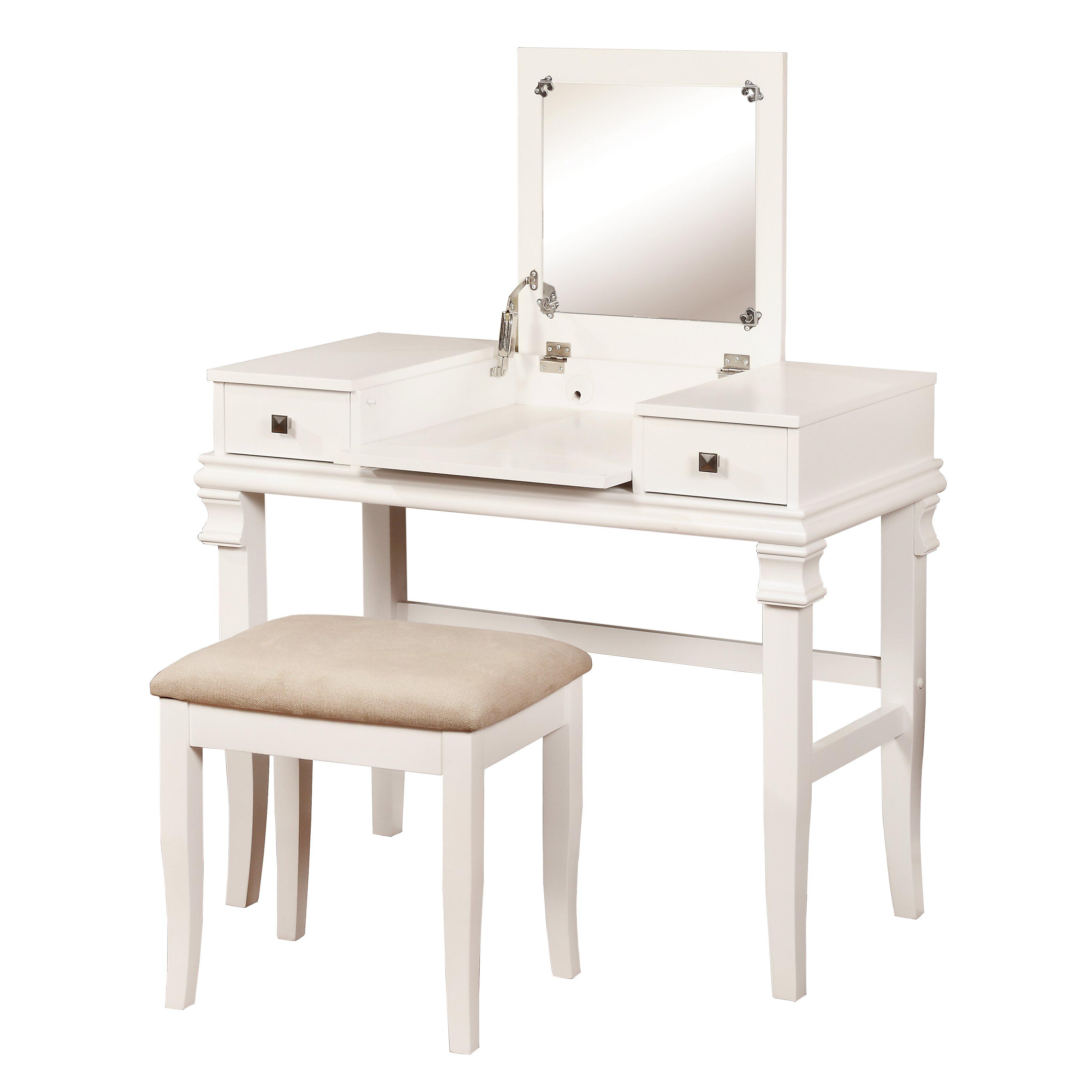 linon angela vanity set with mirror reviews wayfair