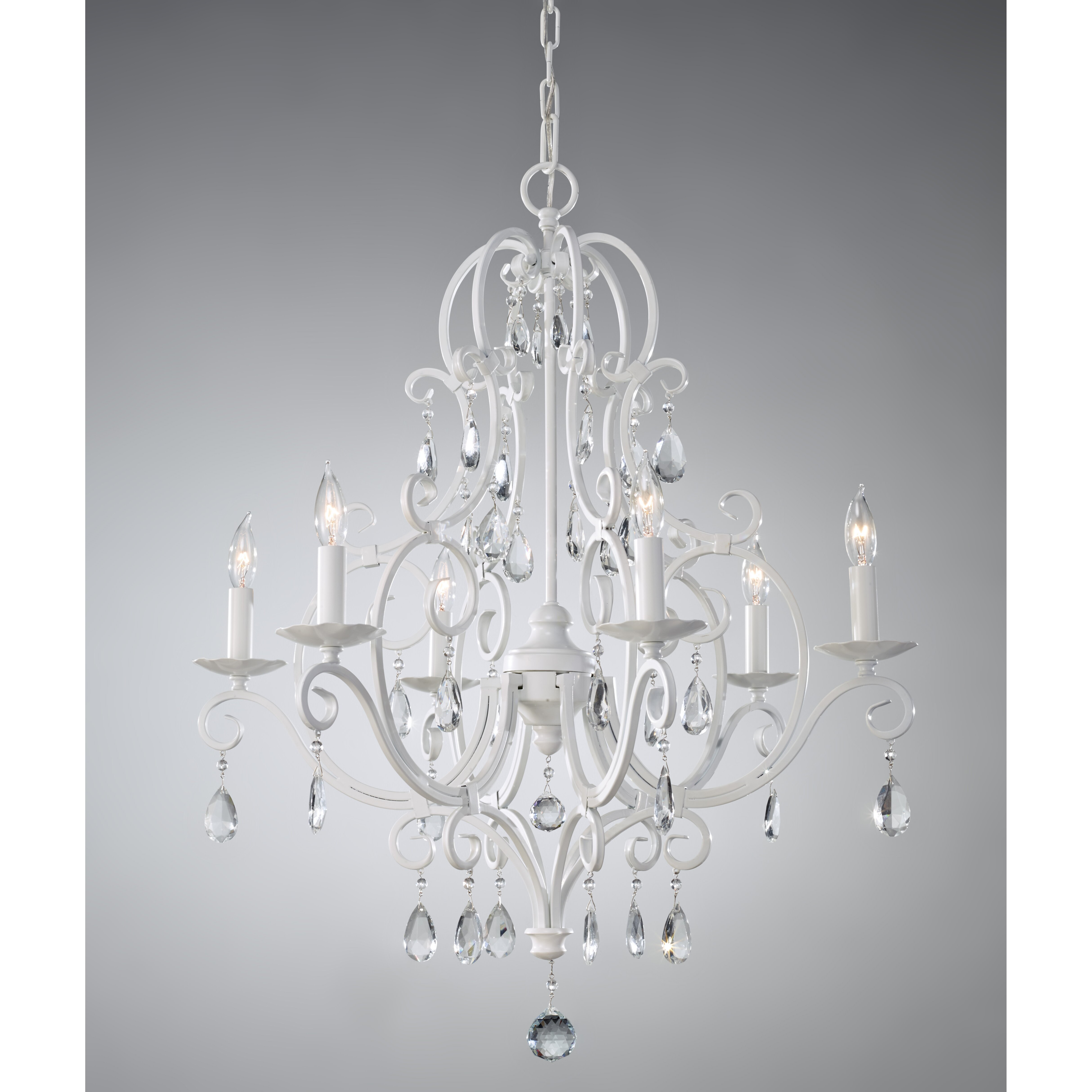 Feiss chateau blanc 6 light crystal chandelier reviews for 6 light crystal chandelier
