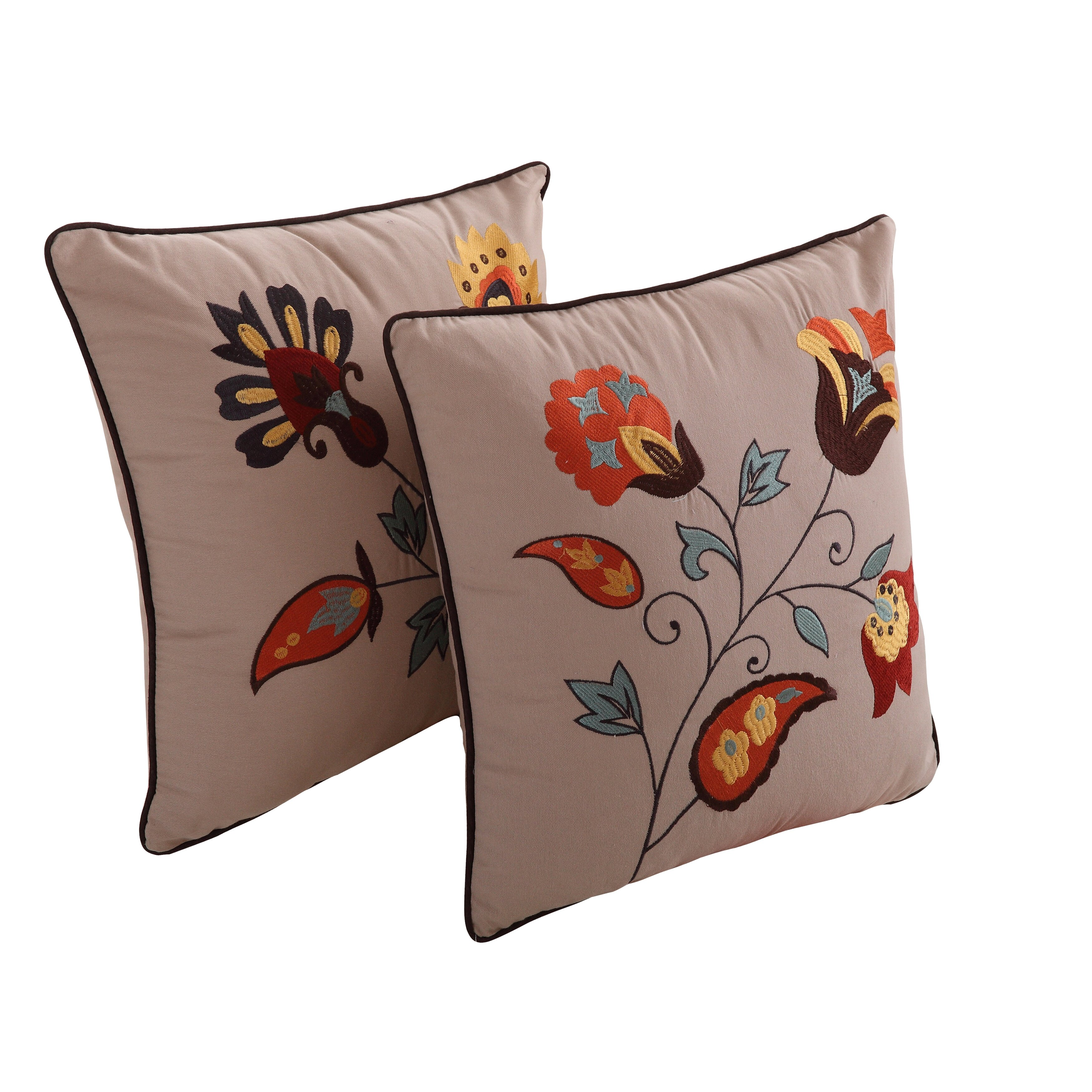Greenland Home Fashions Andorra Embroidered Cotton Throw Pillow & Reviews Wayfair