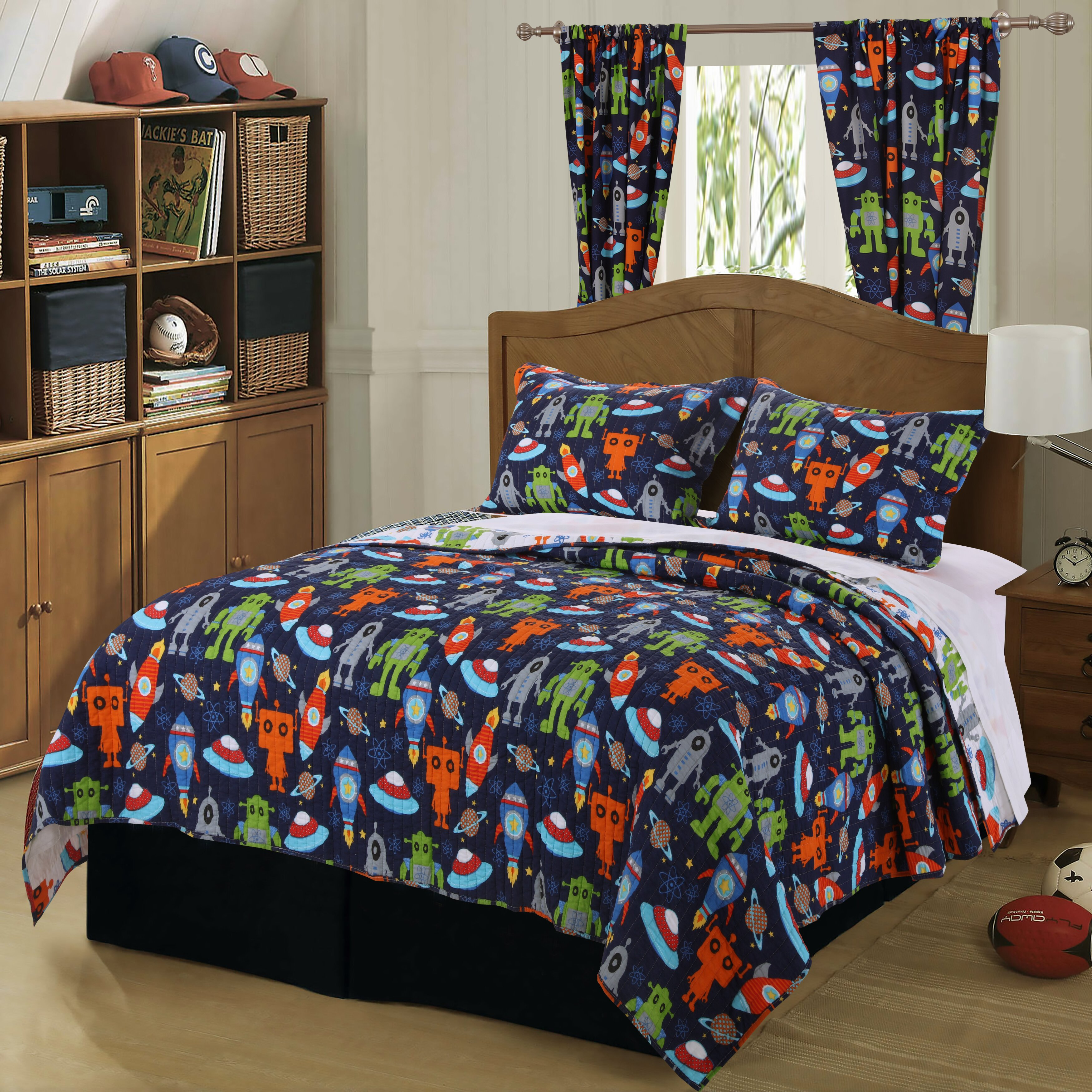 Greenland Home Fashions Robots In Space Curtain Panels