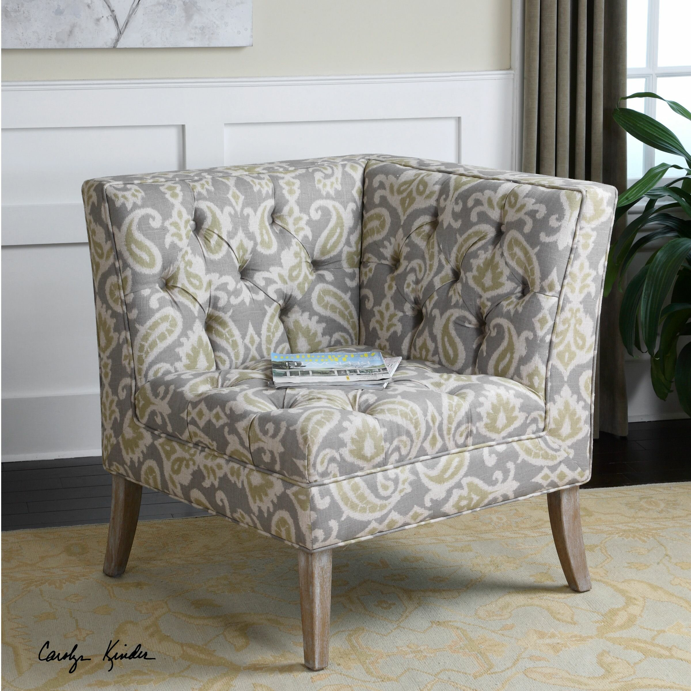 Uttermost Meliso Tufted Corner Chair 23167