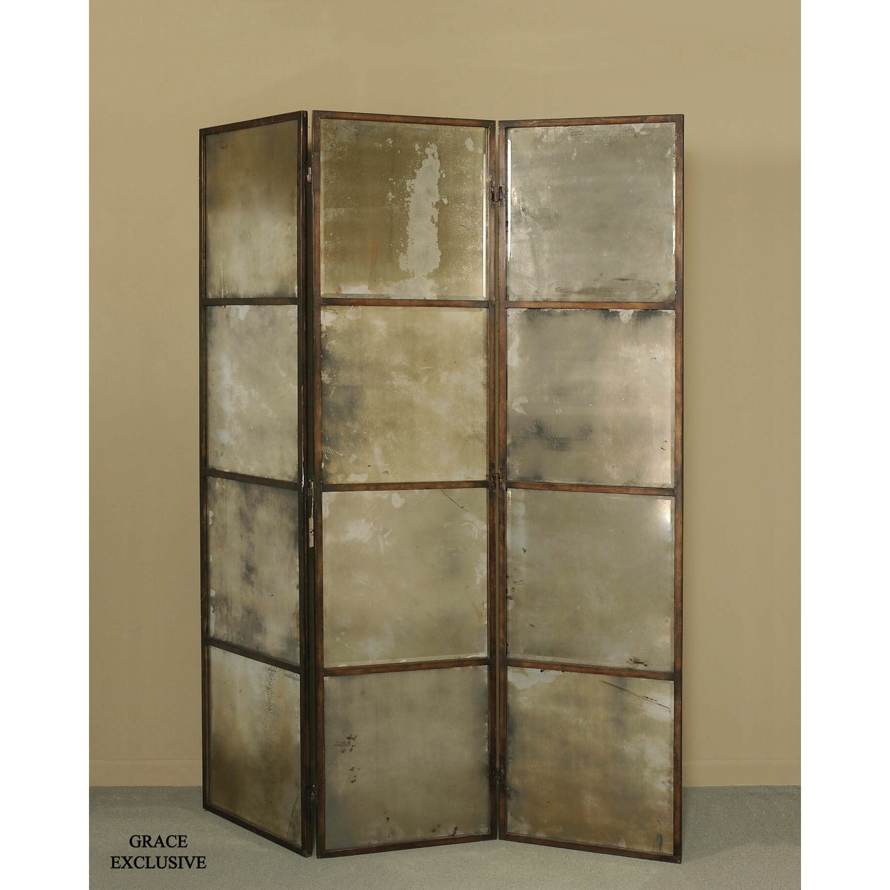 Uttermost 80 x 63 avidan mirrored 3 panel room divider for Mirror screen