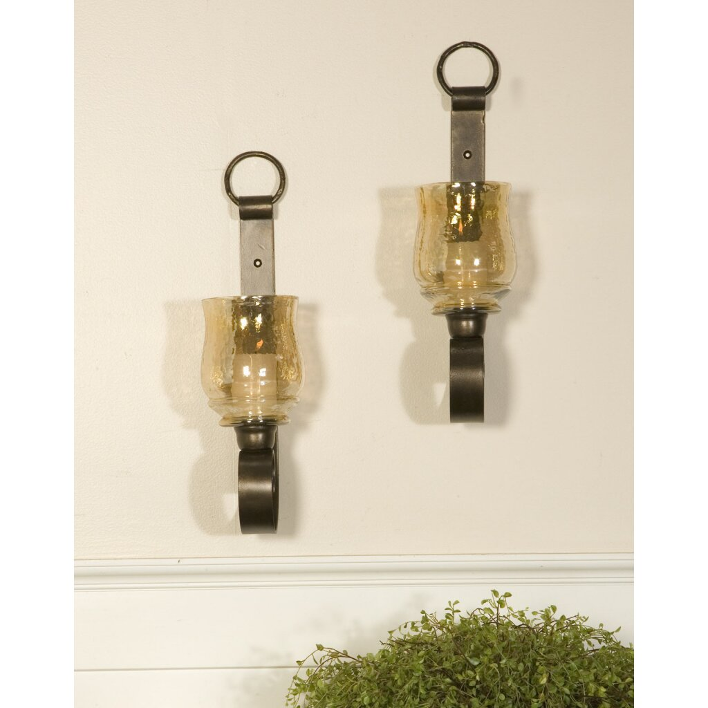 Glass Candle Wall Lights : Darby Home Co Allen Iron and Glass Small Wall Sconces & Reviews Wayfair