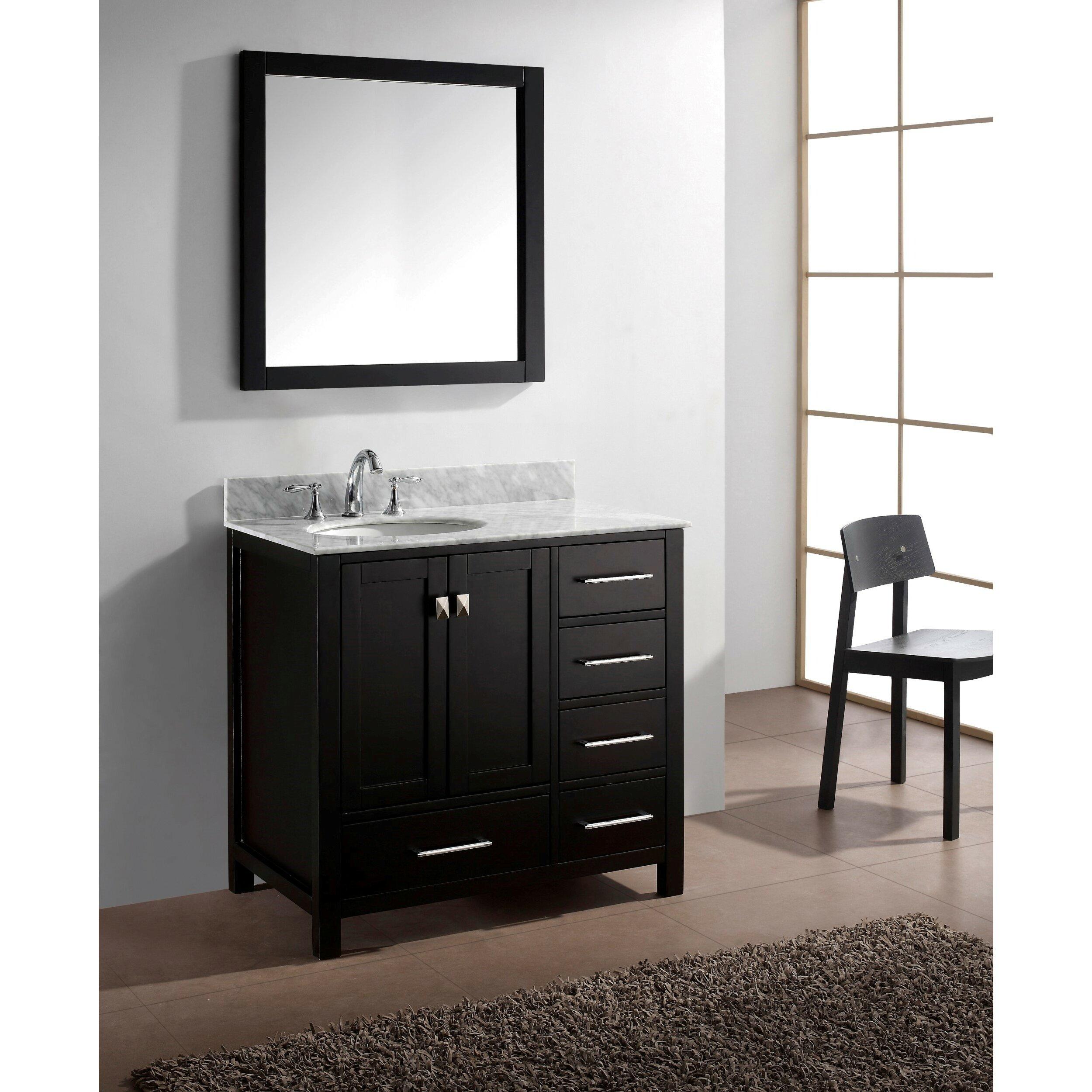 Virtu Caroline Avenue 36 8 Single Bathroom Vanity Set With Carrara White Top And Mirror