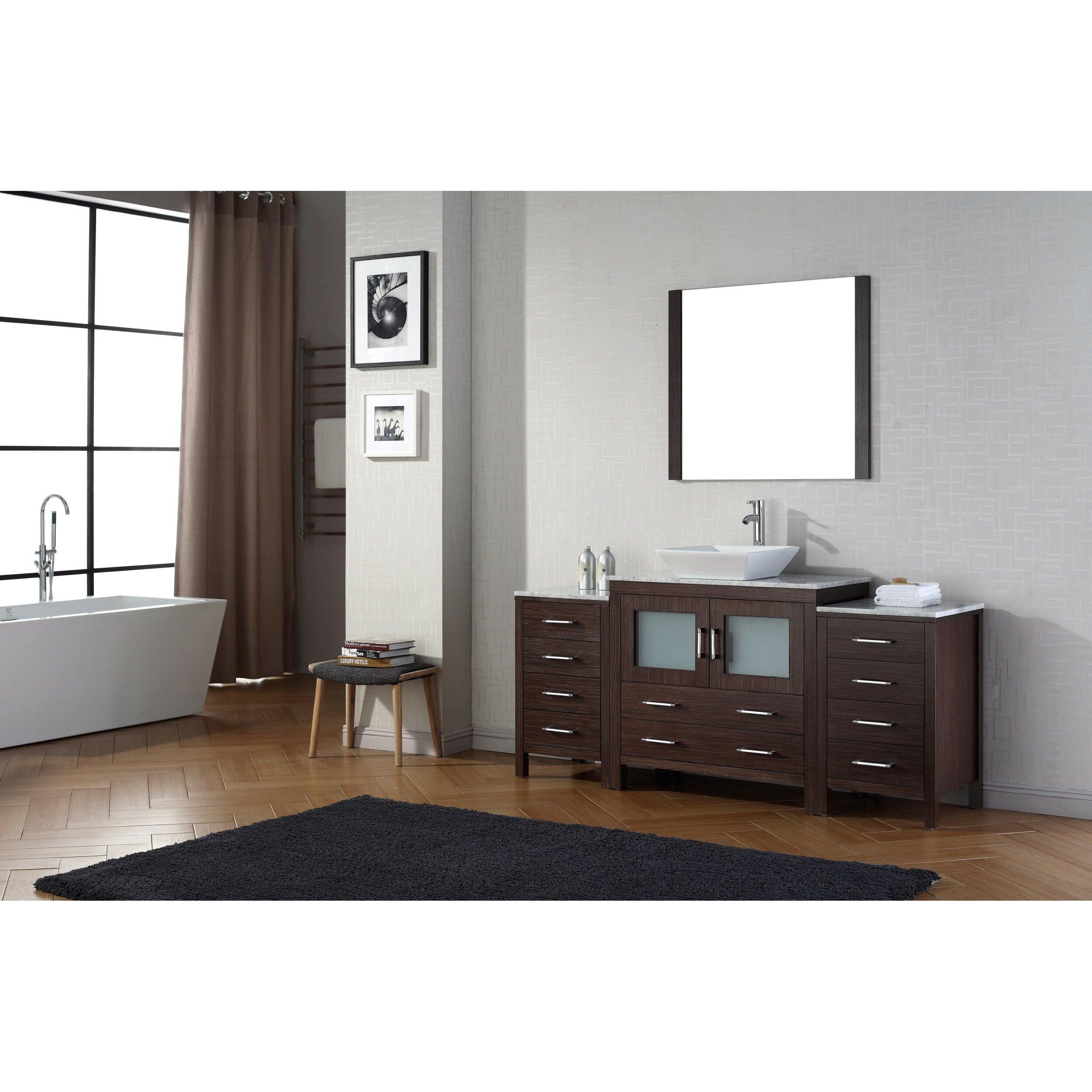 "Virtu Dior 66"" Single Bathroom Vanity Set with Mirror"