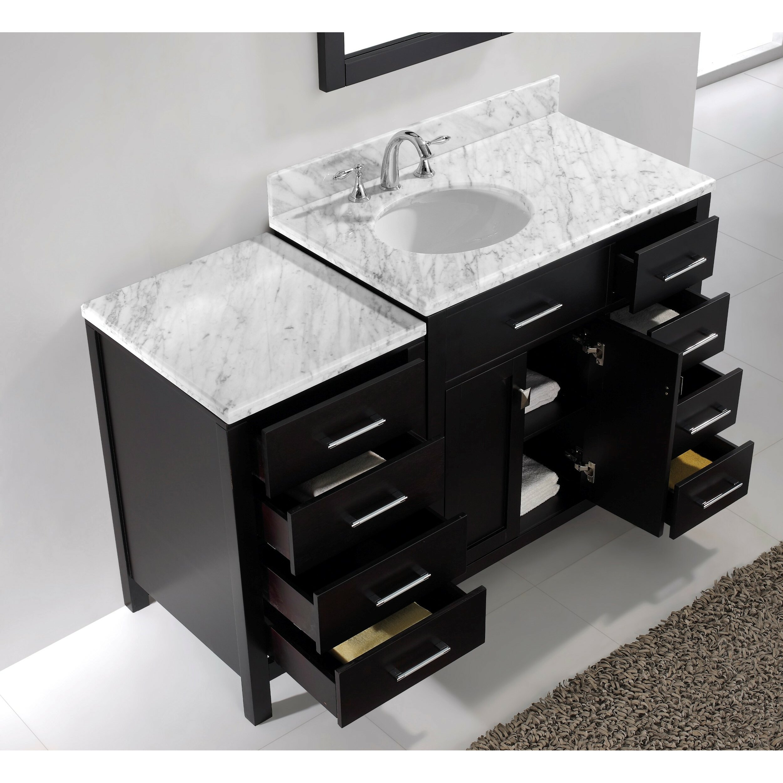 Virtu Caroline Parkway 57 Single Bathroom Vanity Set With