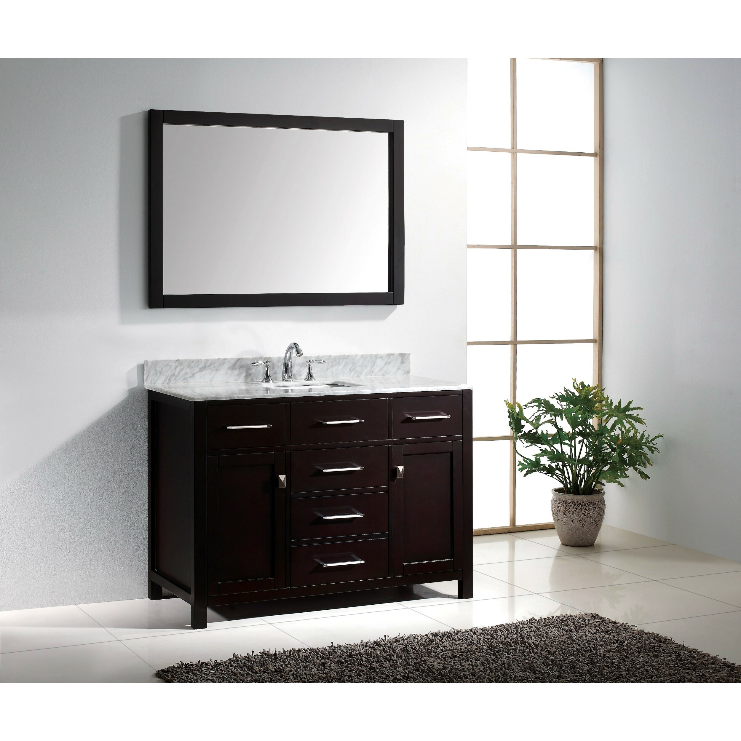 Virtu caroline 48 single bathroom vanity set with carrara for 48 inch mirrored bathroom vanity