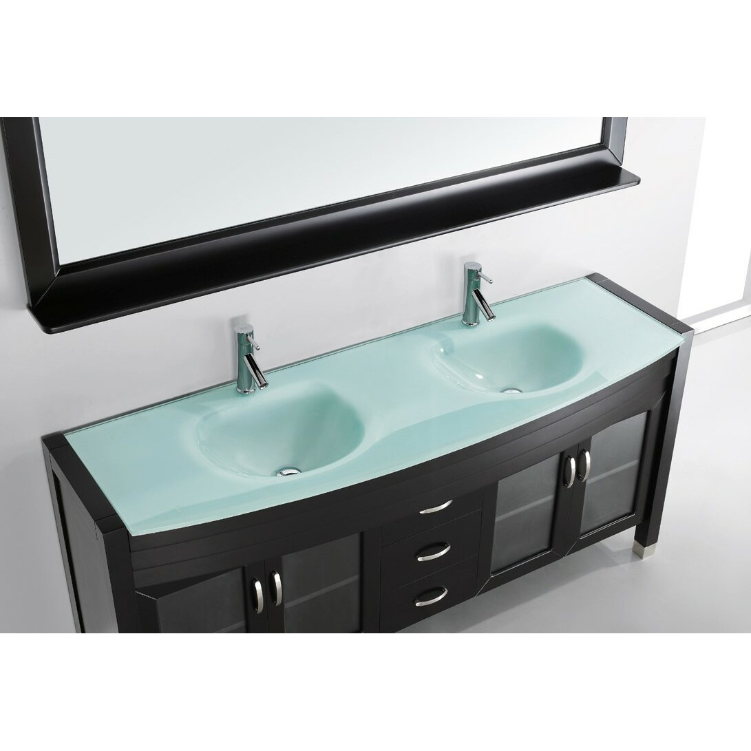 Amazing Virtu Ultra Modern Series 71quot Double Bathroom Vanity Set With Mirror