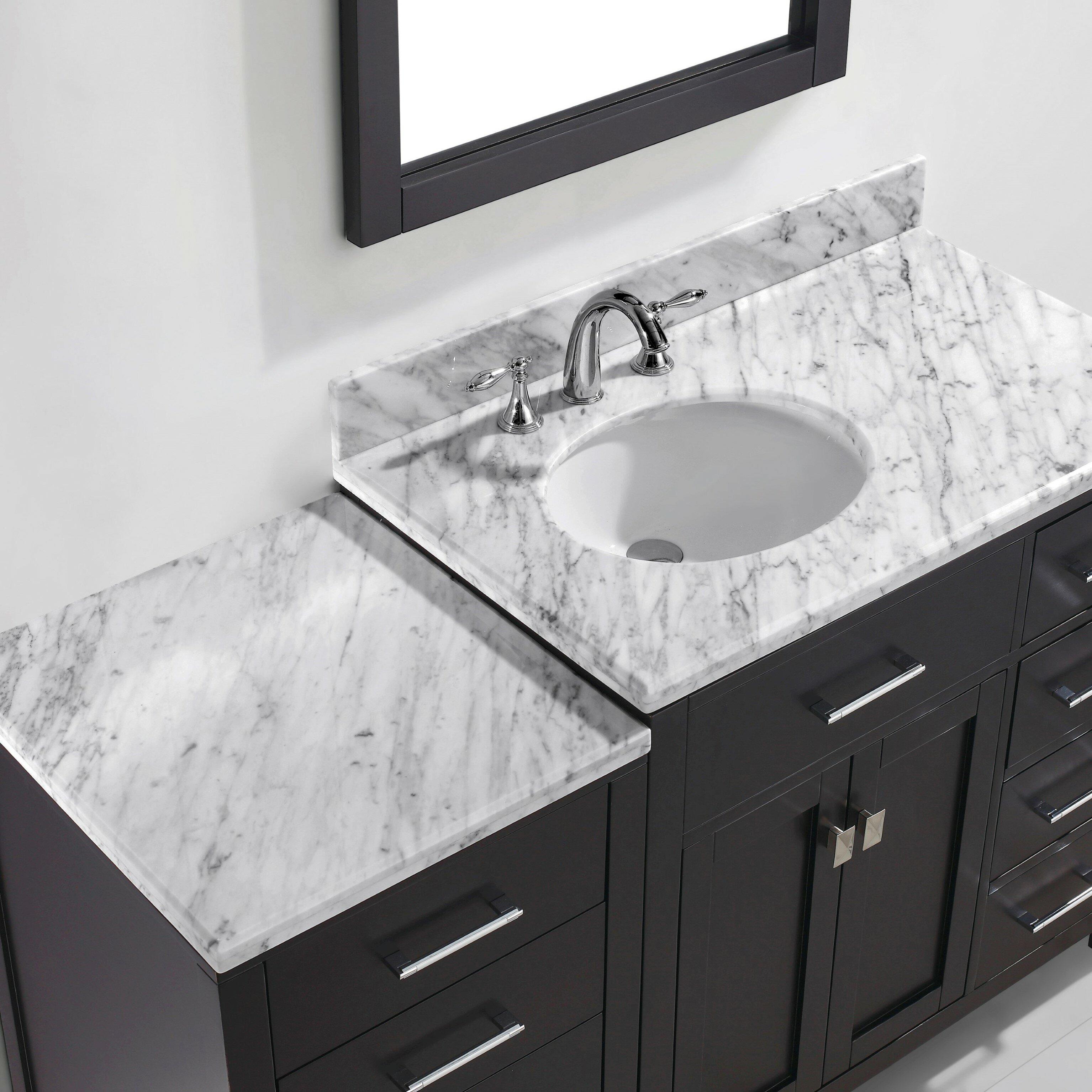 Virtu caroline parkway 37 single bathroom vanity set with for Bathroom mirror set