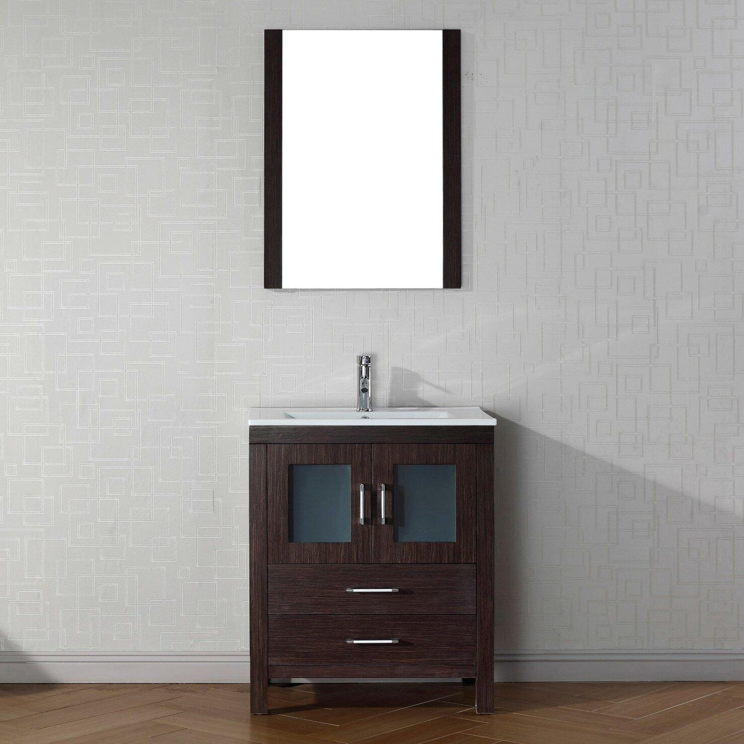 "Virtu Dior 28"" Single Bathroom Vanity Set with Mirror"