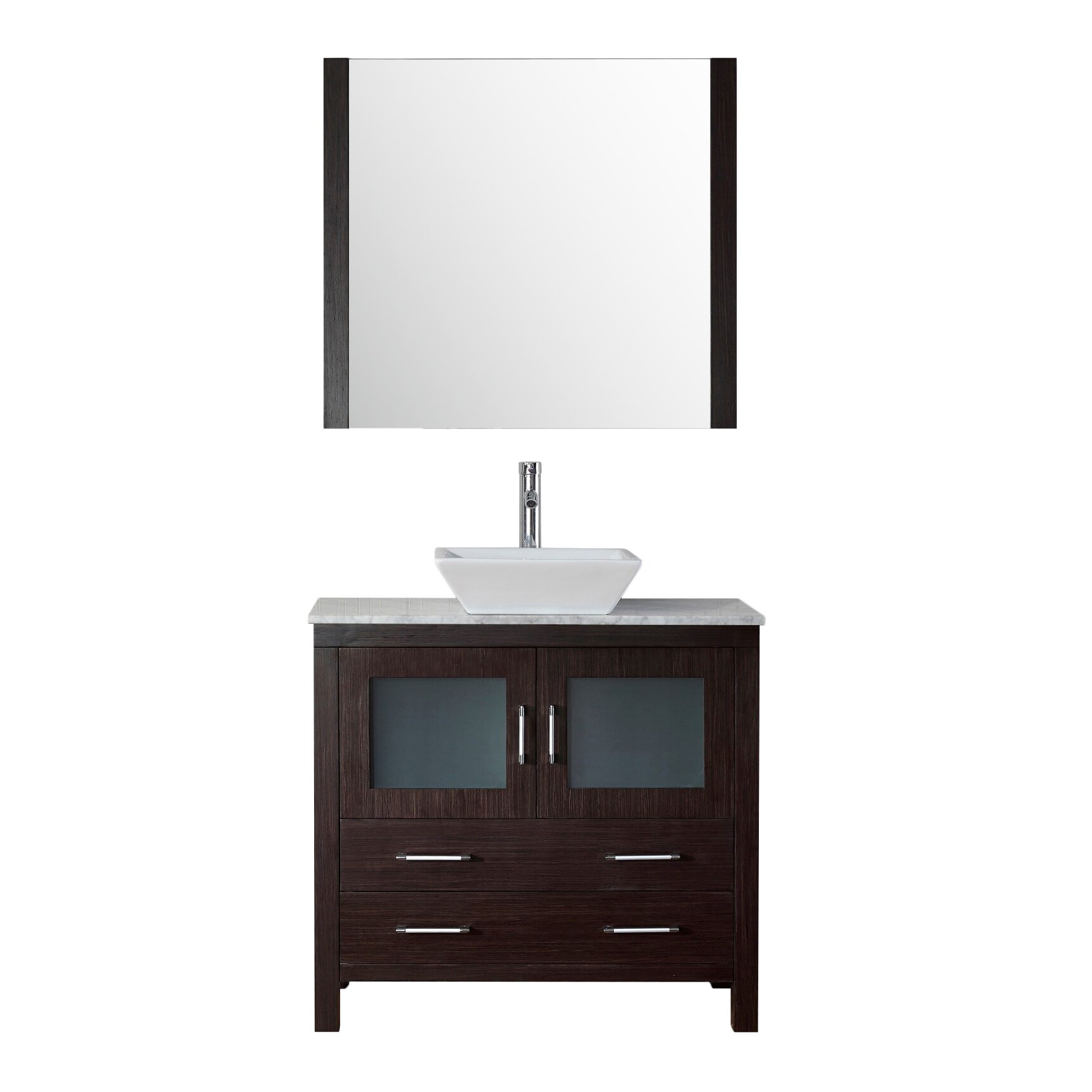 "Virtu Dior 32"" Single Bathroom Vanity Set with Mirror and Marble Top &am"