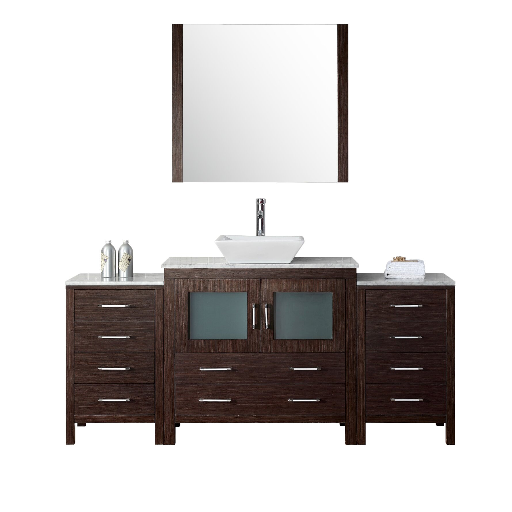 Virtu dior 66 single bathroom vanity set with mirror for Single bathroom vanity