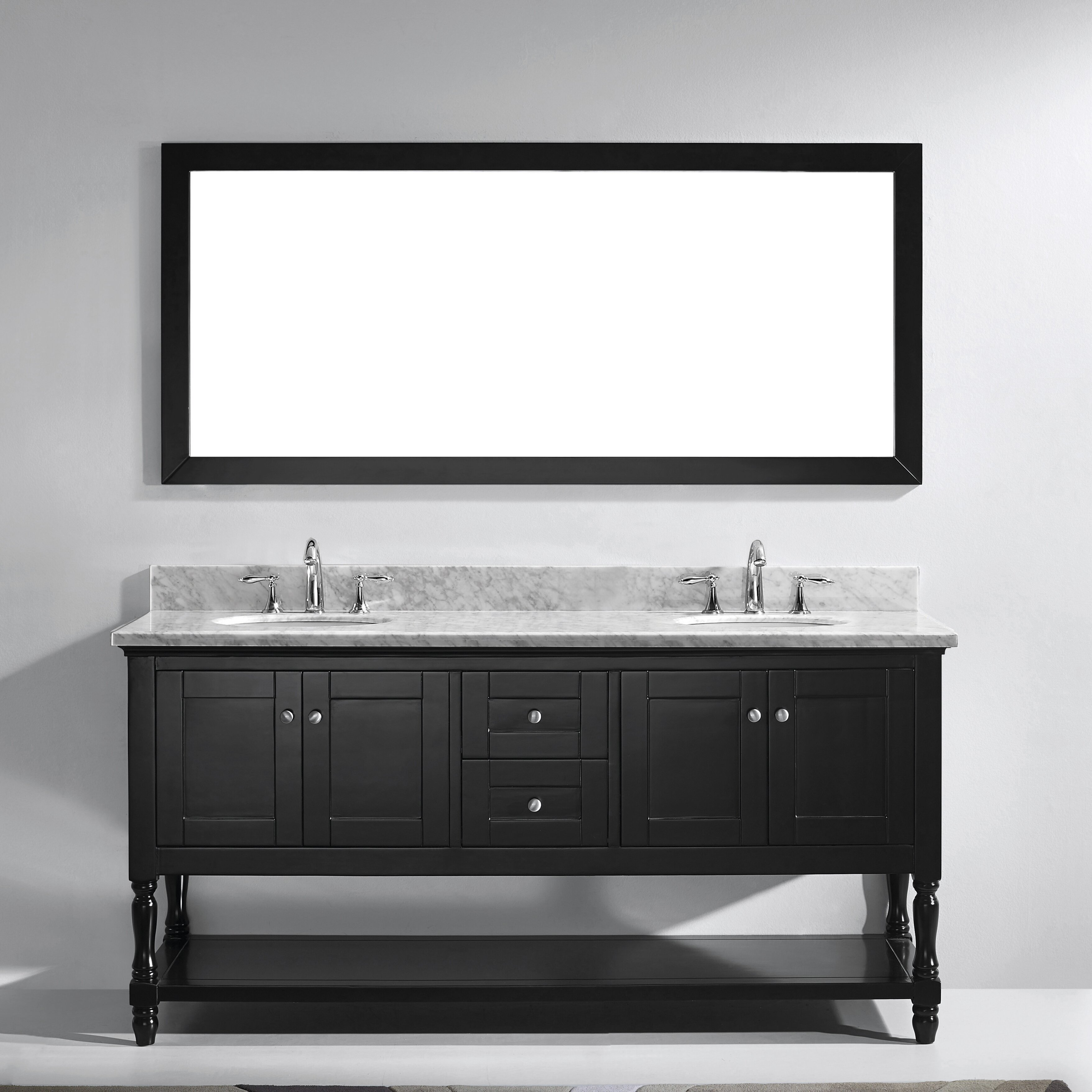 Virtu Julianna 72 8 Double Bathroom Vanity Set With Carrara White Top And Mirror Reviews