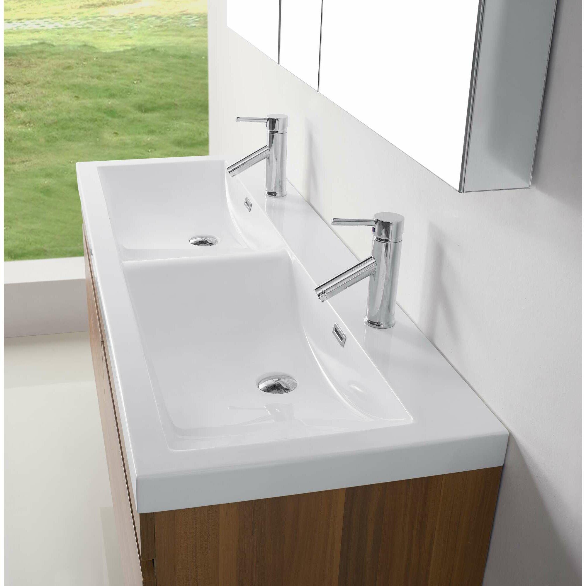 """Virtu Zuri 55"""" Double Floating Bathroom Vanity Set & Reviews"""