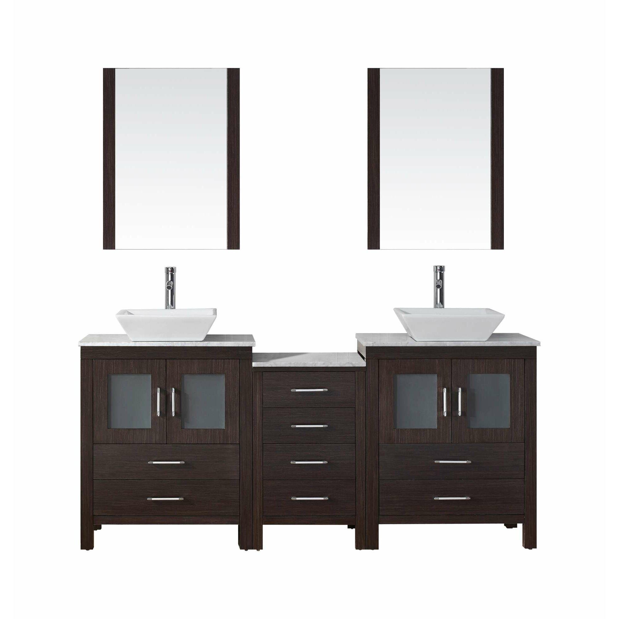 Virtu dior 75 double bathroom vanity set with mirror for Bathroom mirror set