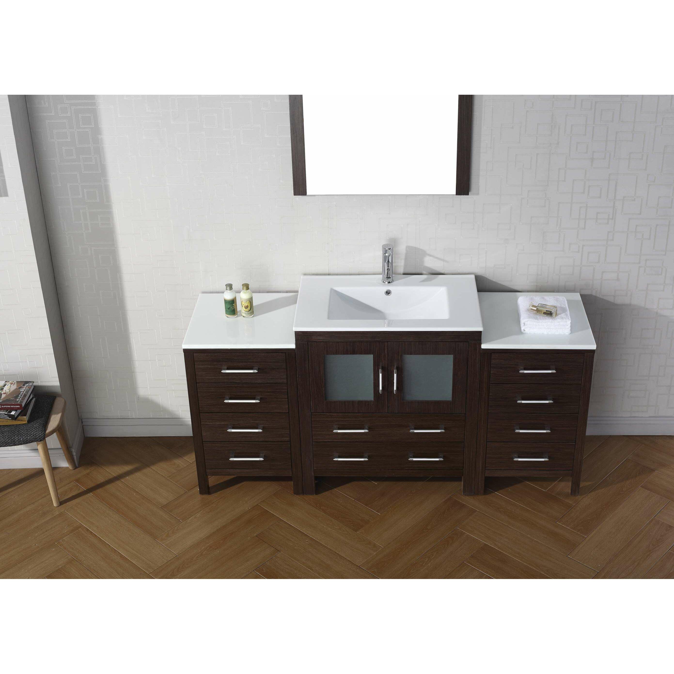 """Virtu Dior 66"""" Single Bathroom Vanity Set with Mirror & Reviews"""