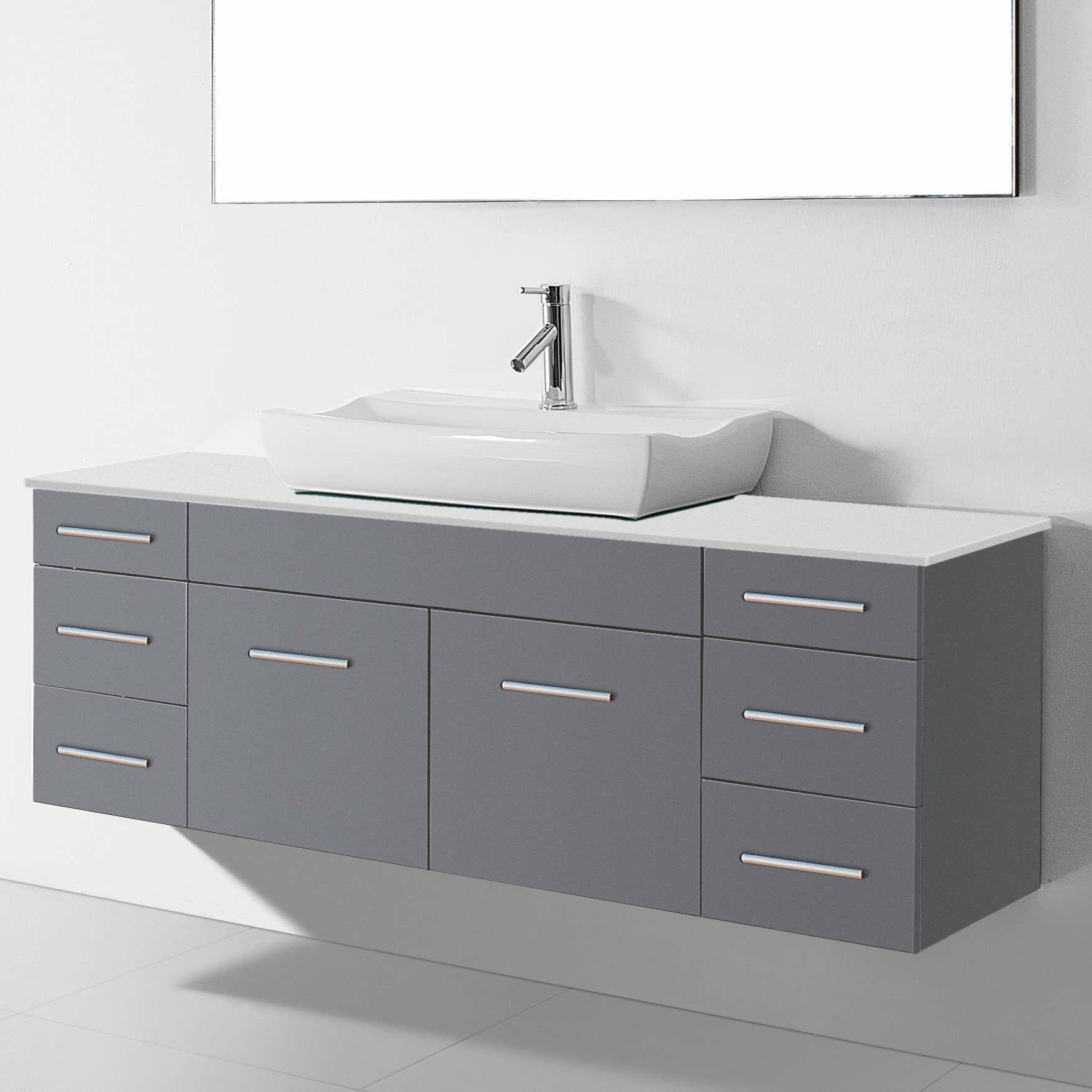 Virtu Ultra Modern Series 56 Single Bathroom Vanity Set With Mirror