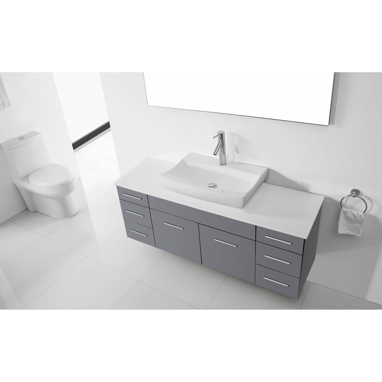 Virtu ultra modern series 56 single bathroom vanity set with mirror for Ultra bathroom vanities burbank