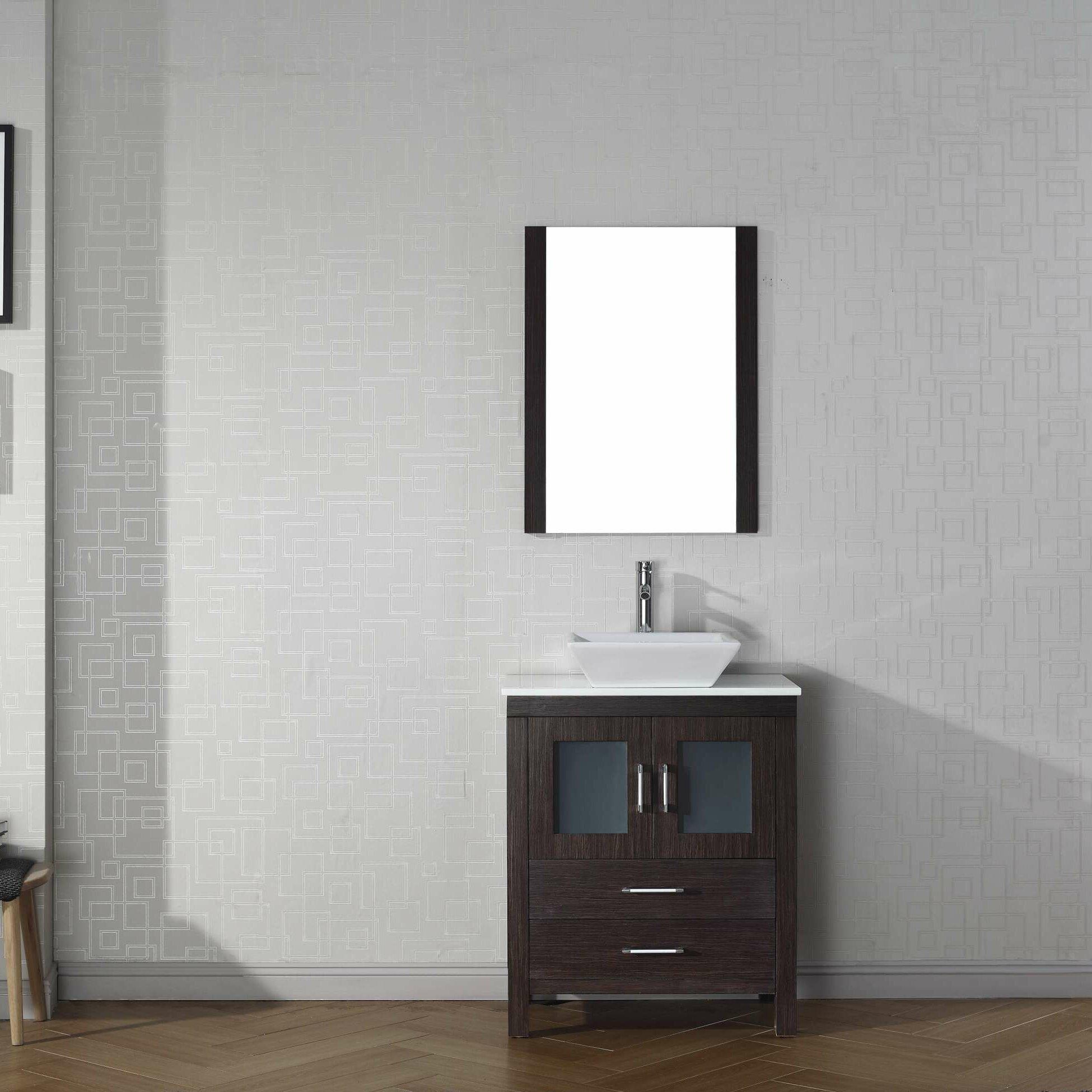 Virtu dior 28 single bathroom vanity set with mirror for Bathroom mirror set