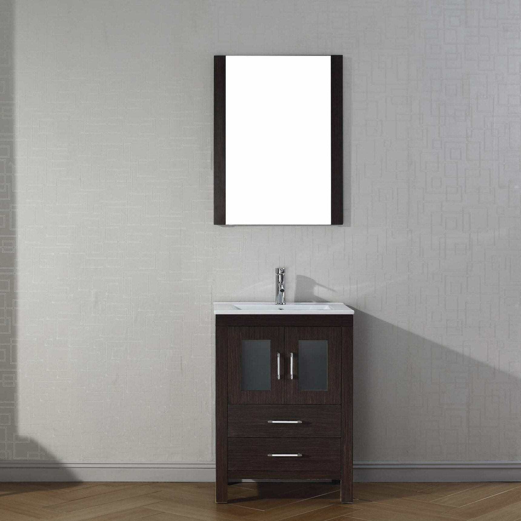 "Virtu Dior 24"" Single Bathroom Vanity Set with Mirror & Reviews"
