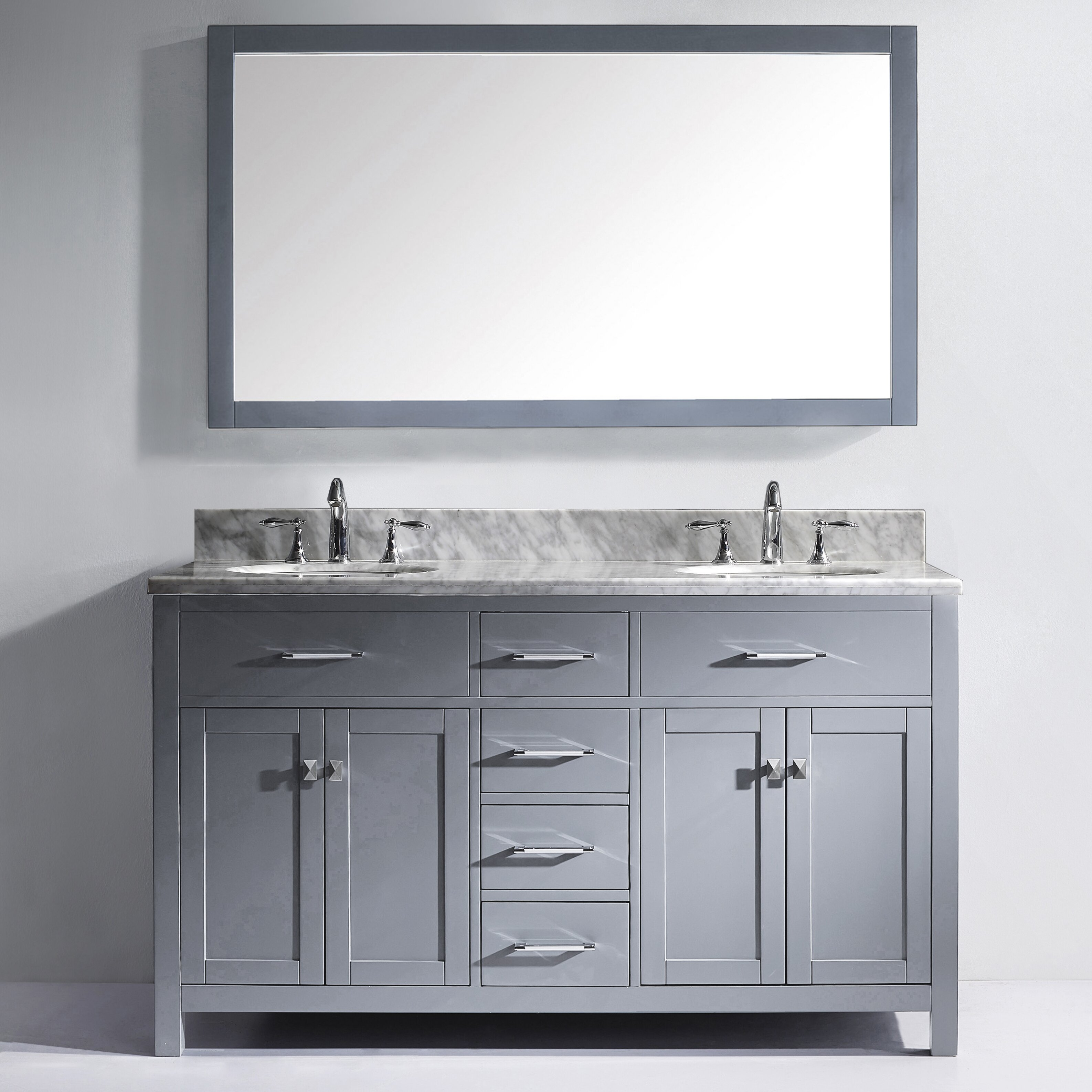 Virtu Caroline 60 Double Bathroom Vanity Set With Carrara White Stone Top And Mirror Reviews