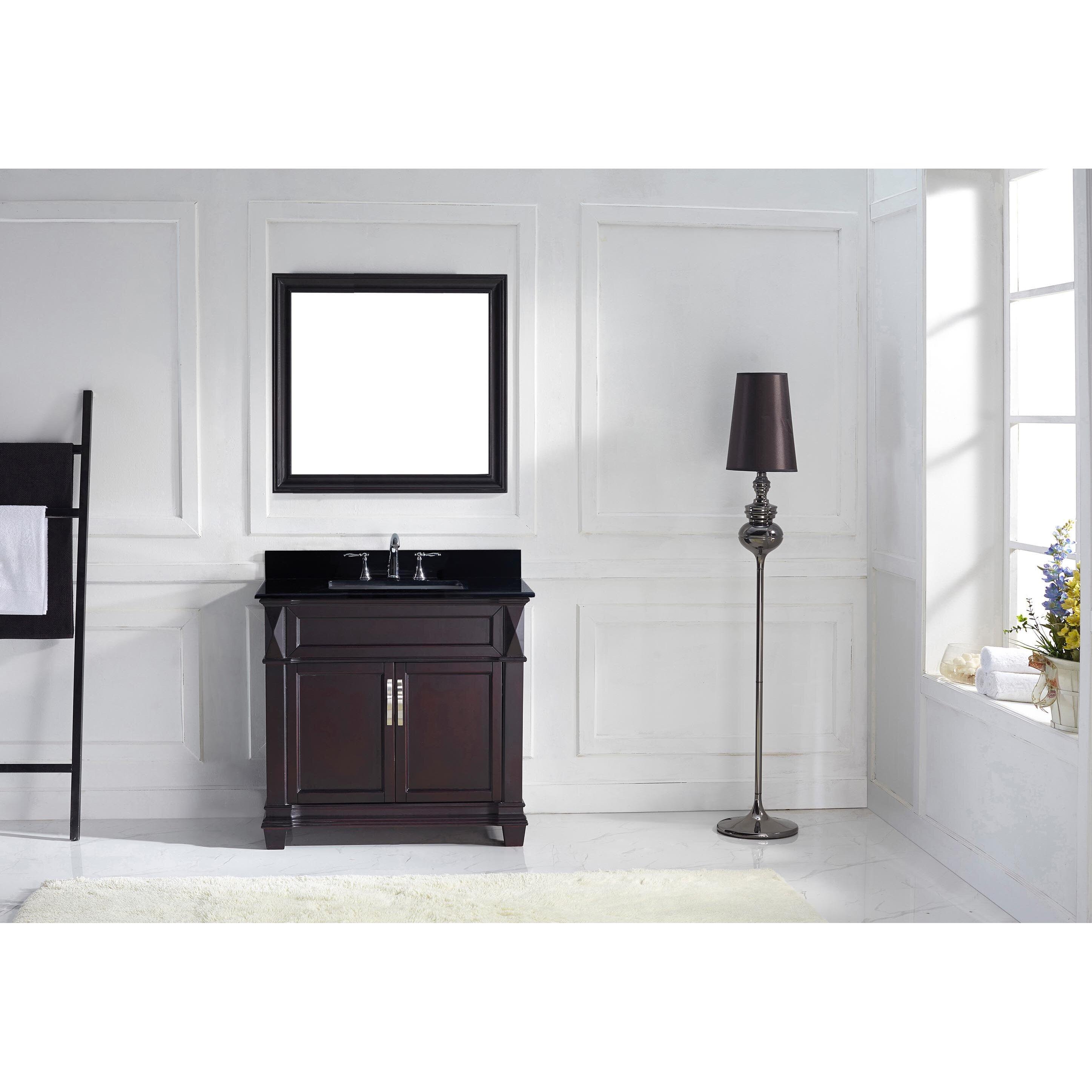 """Black Bathroom Vanity Set: Virtu Victoria 36"""" Single Bathroom Vanity Set With Black"""