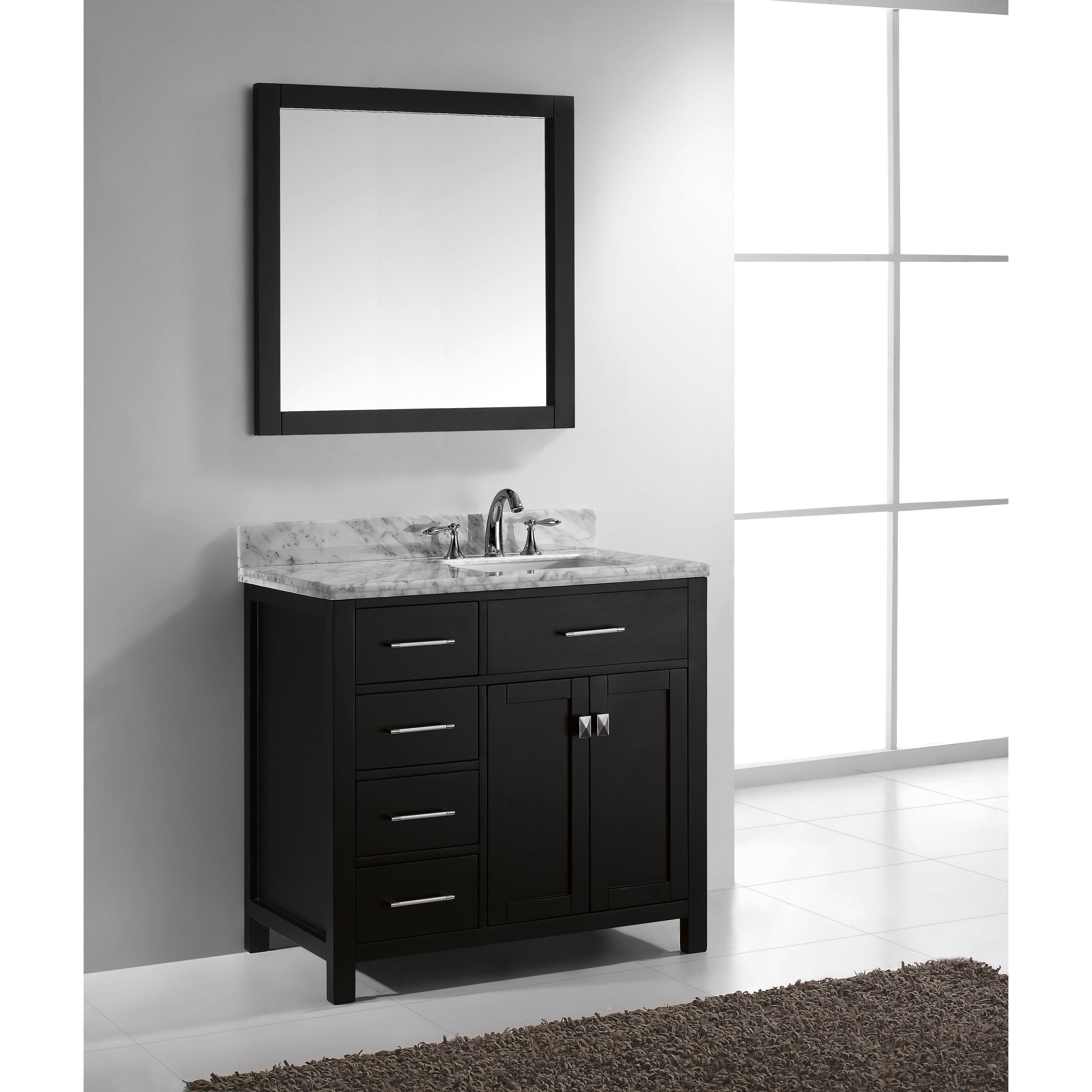 Virtu caroline parkway 35 single bathroom vanity set with for Bathroom mirror set