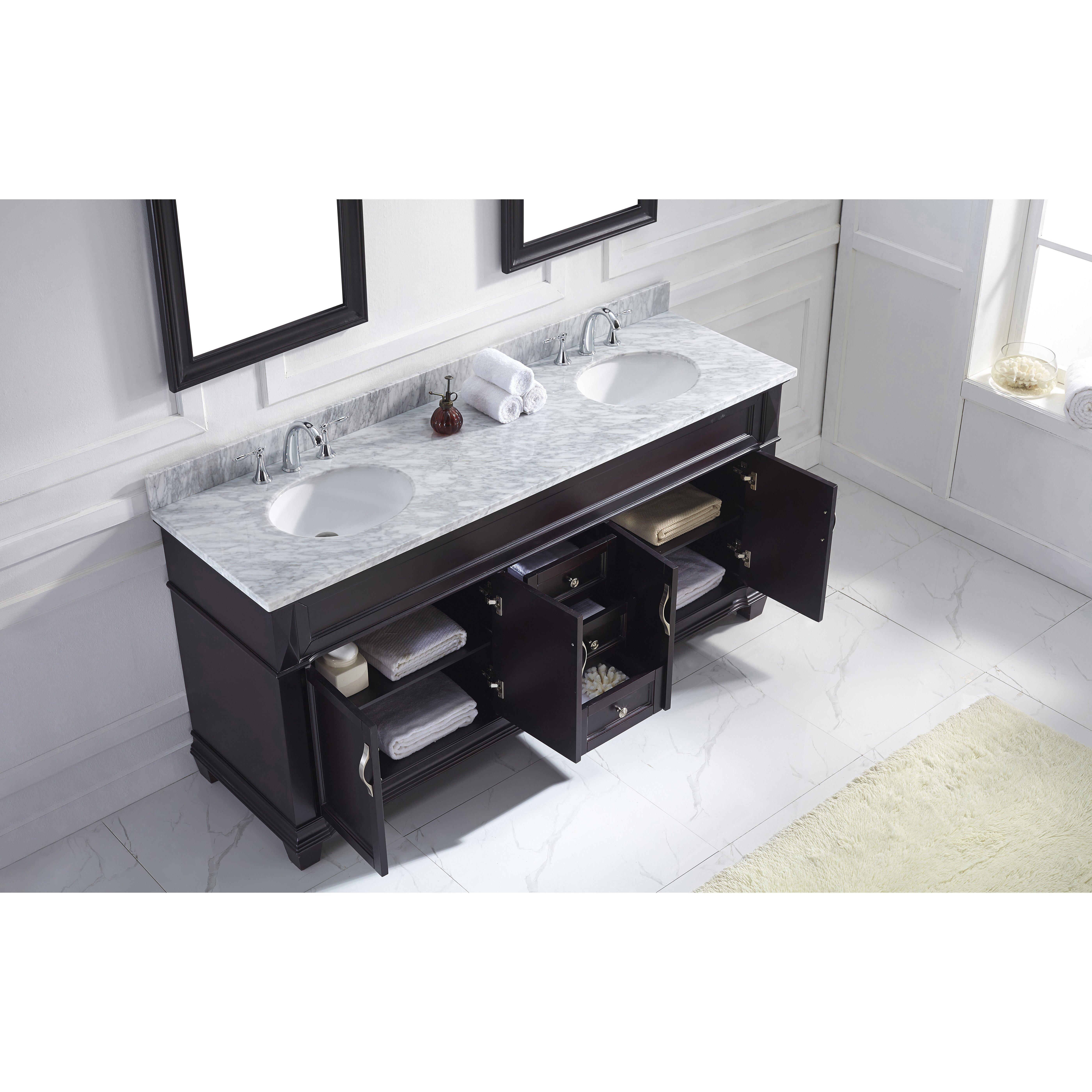 Virtu victoria 72 double bathroom vanity set with marble for Vanity and mirror set