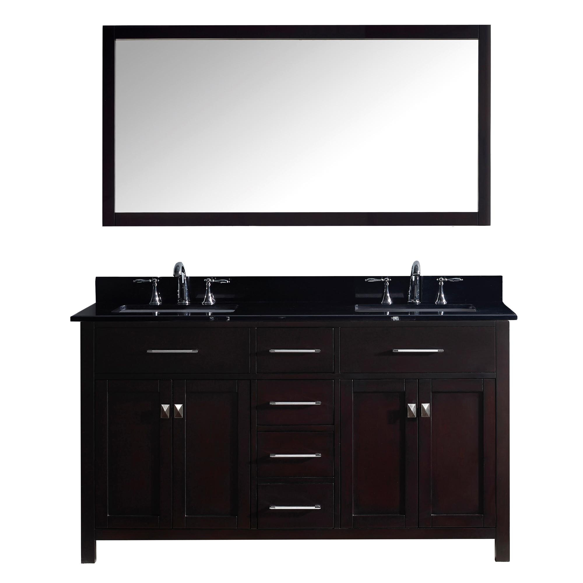 Virtu caroline 60 double bathroom vanity set with black for Bathroom mirror set