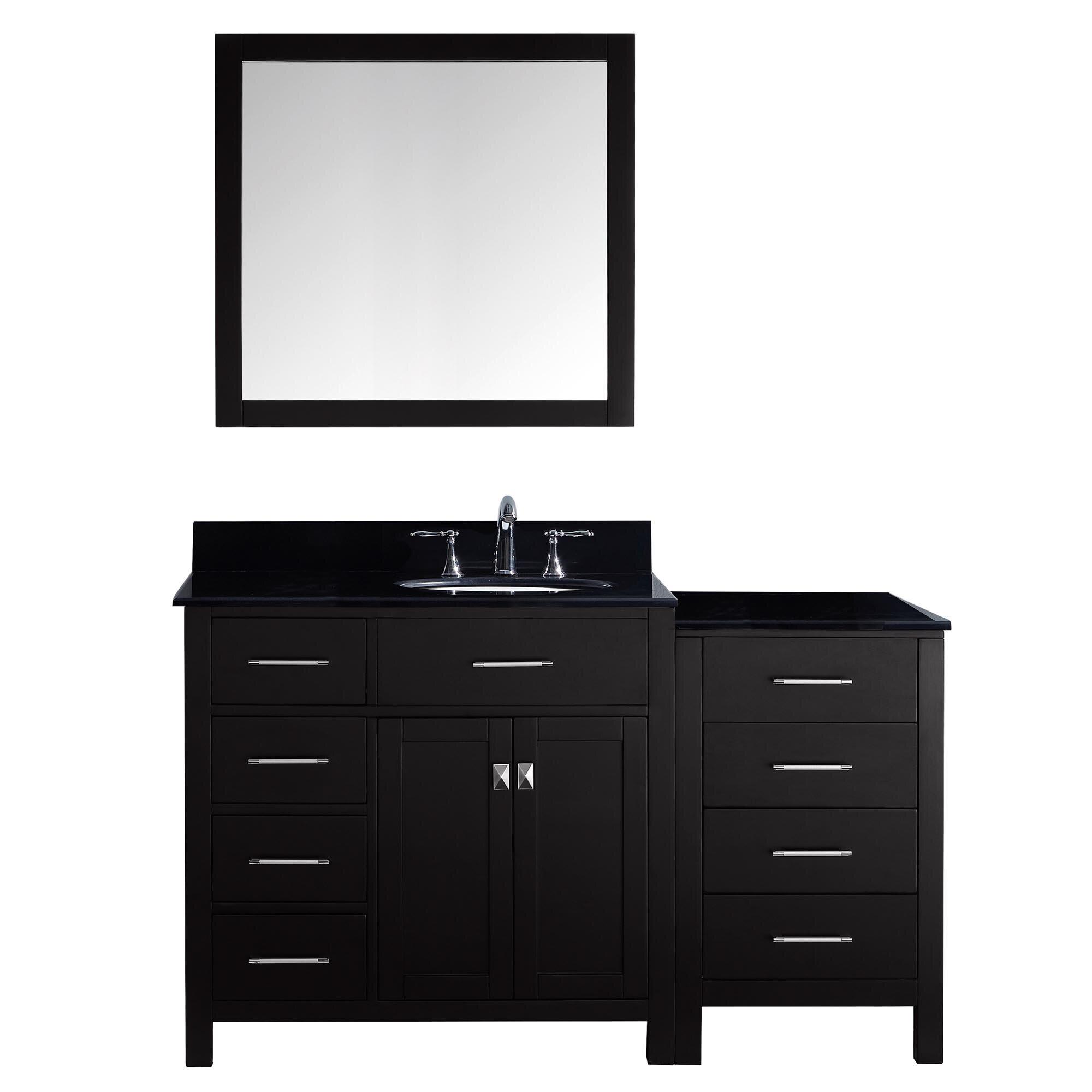 "Black Bathroom Vanity Set: Virtu Caroline Parkway 57"" Single Bathroom Vanity Set With"