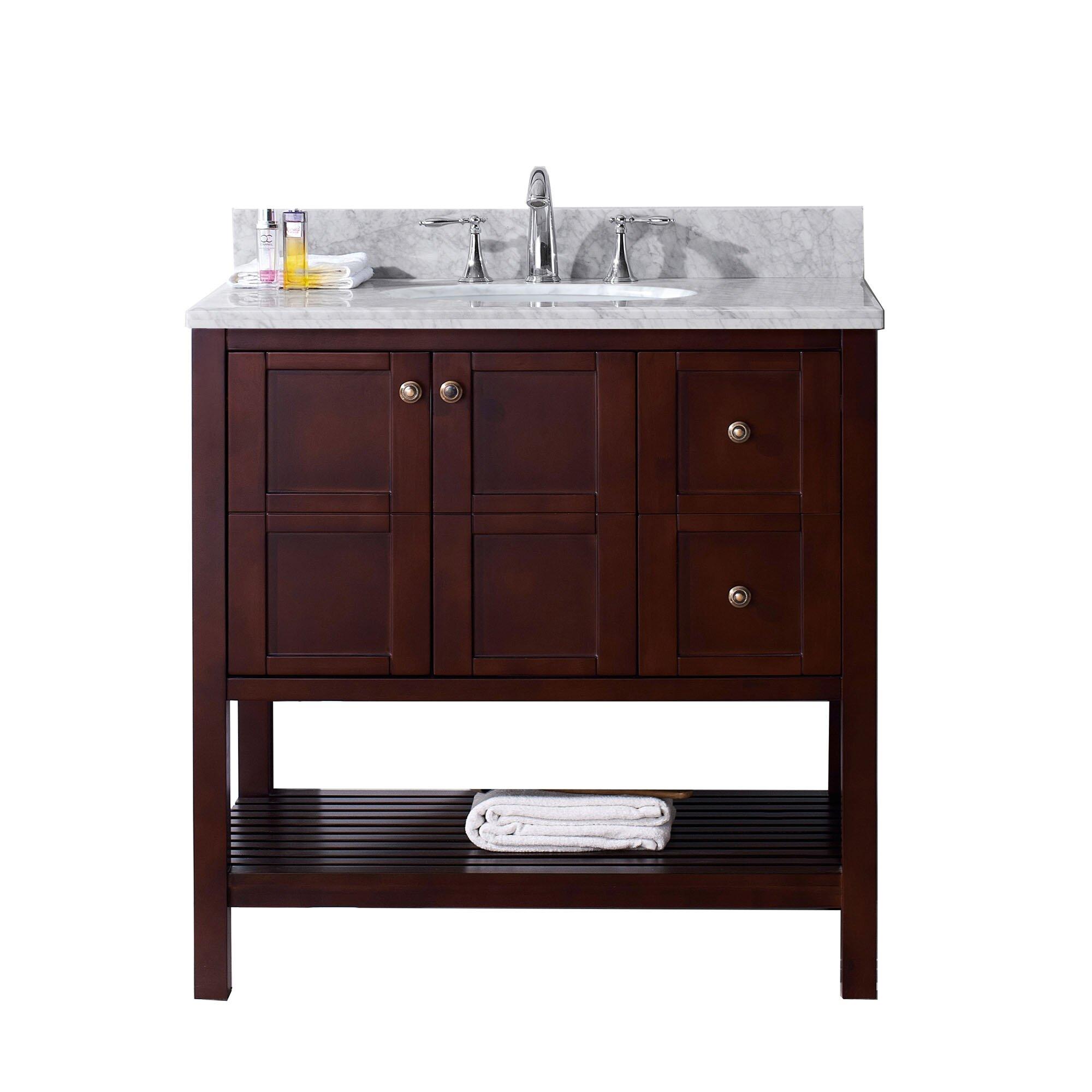 Virtu Winterfell 36 Single Bathroom Vanity Set With Carrara White Top And Mirror Reviews
