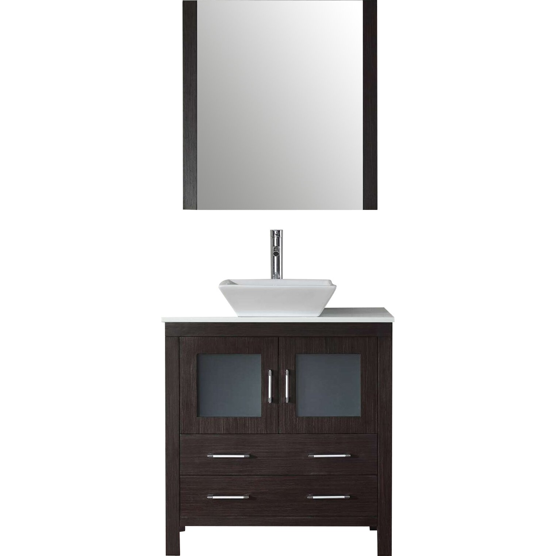 Virtu dior 32 single bathroom vanity set with mirror for Bathroom mirror set