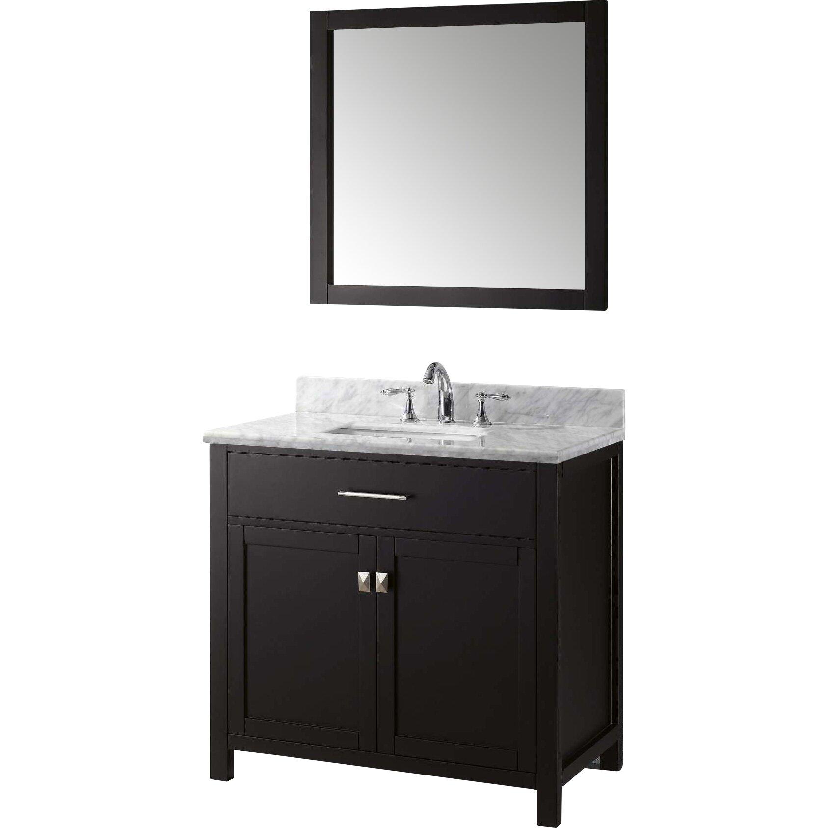 Virtu caroline 36 single bathroom vanity set with carrara for Vanity and mirror set
