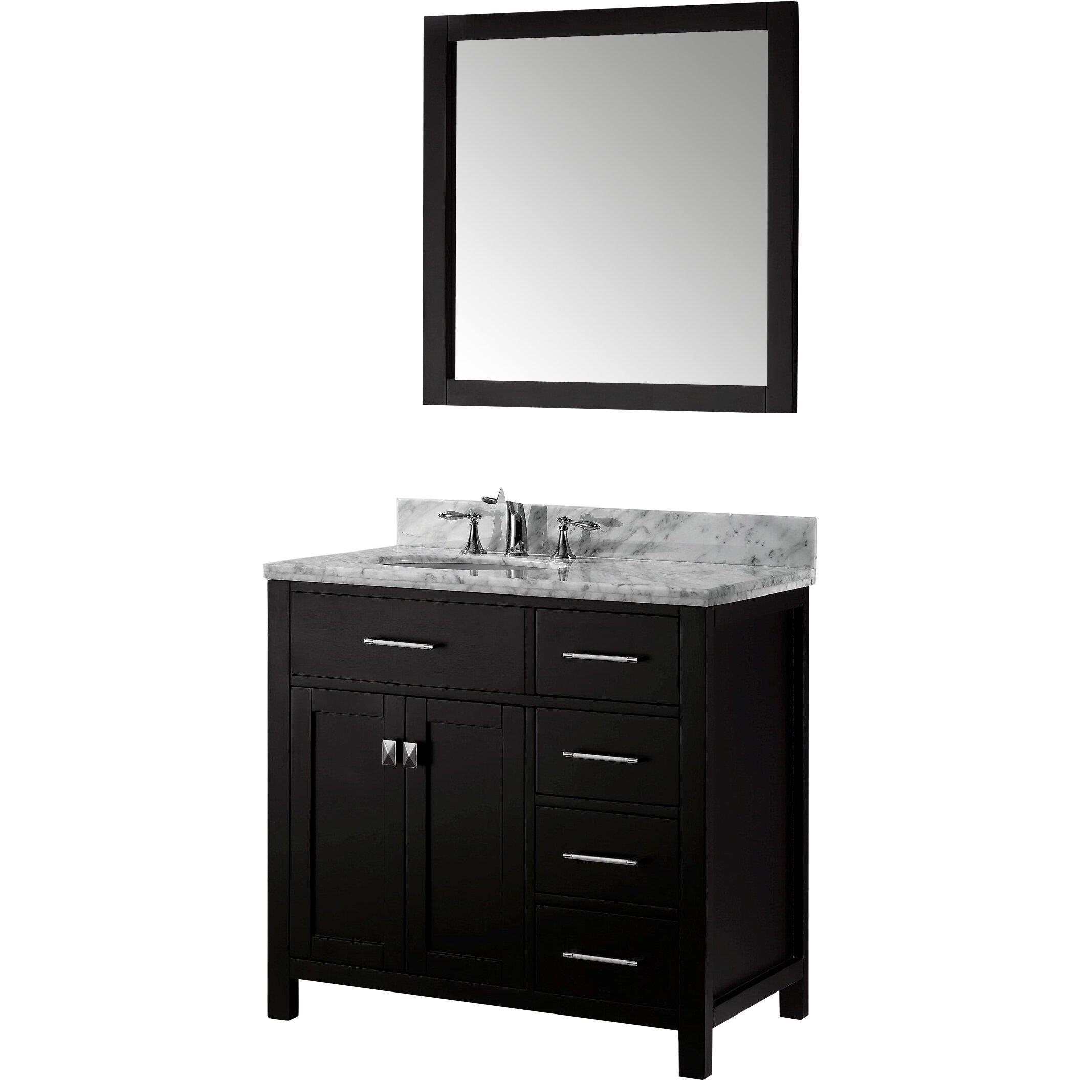 Virtu caroline parkway 37 single bathroom vanity set with for Vanity set with mirror