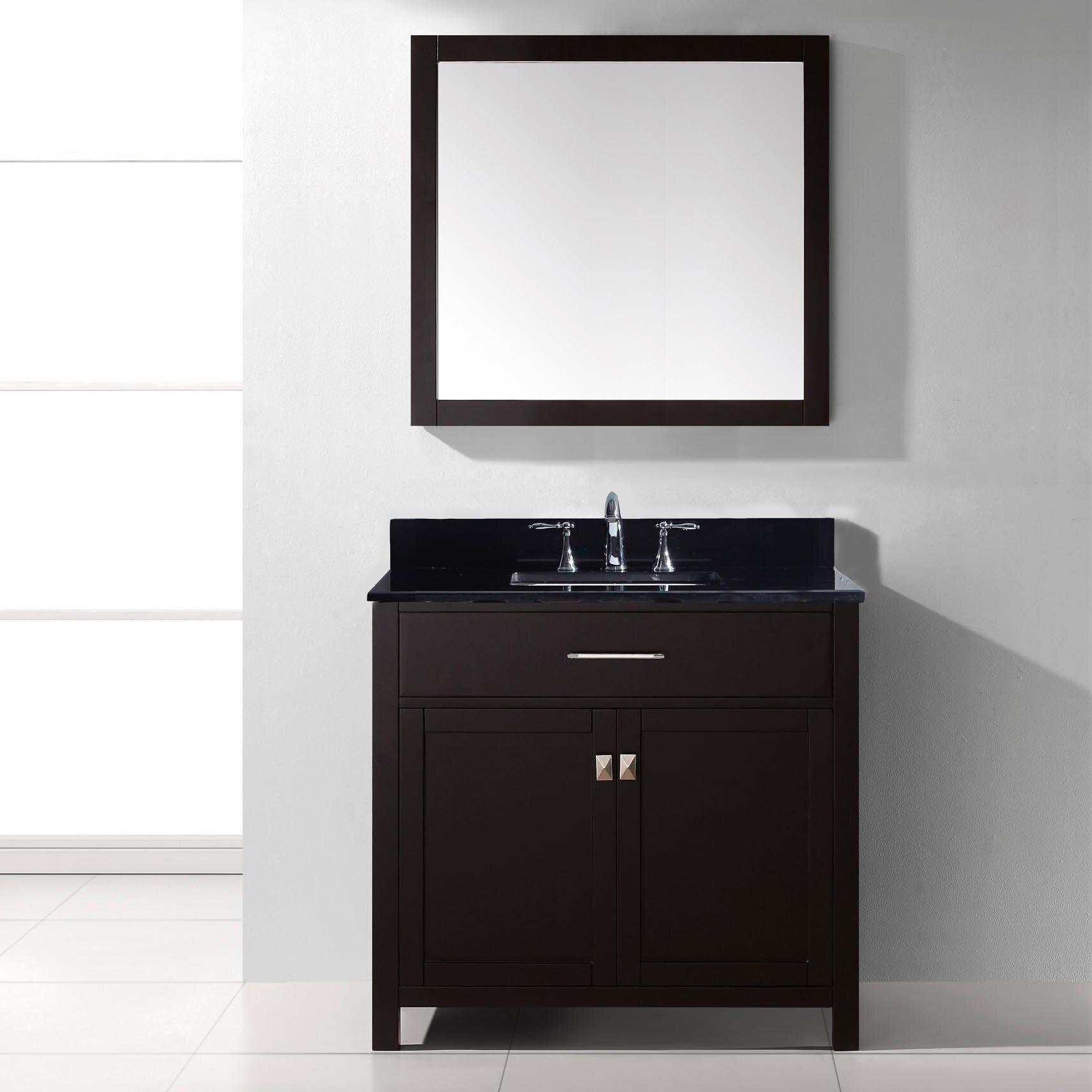 Virtu caroline 36 single bathroom vanity set with black for Bathroom mirror set