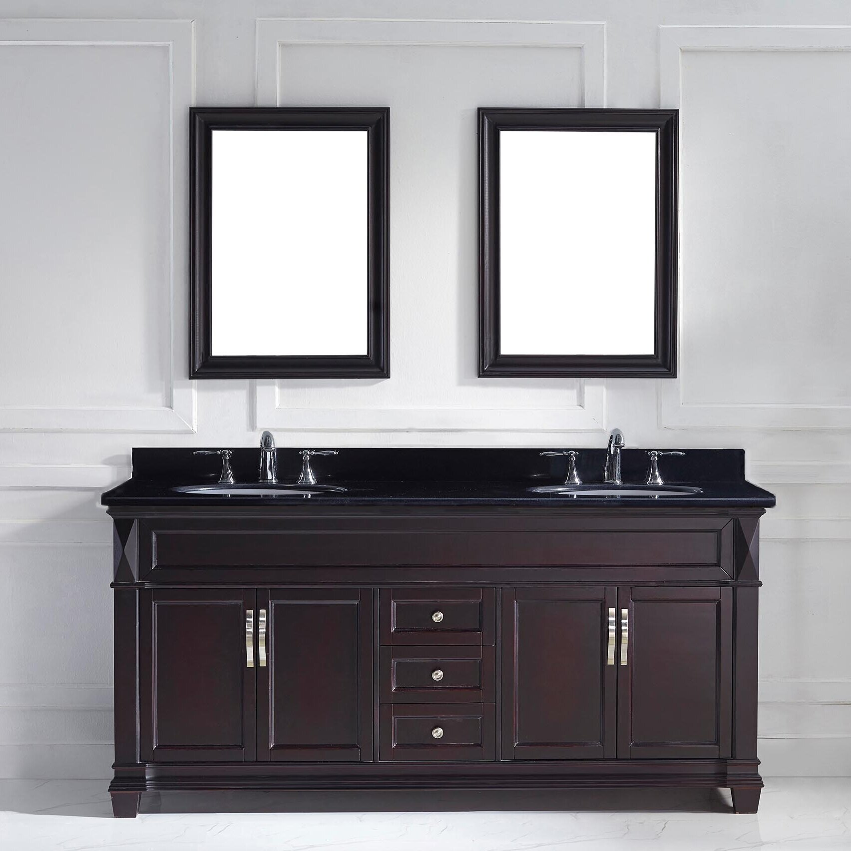 virtu 72 quot bathroom vanity set with black