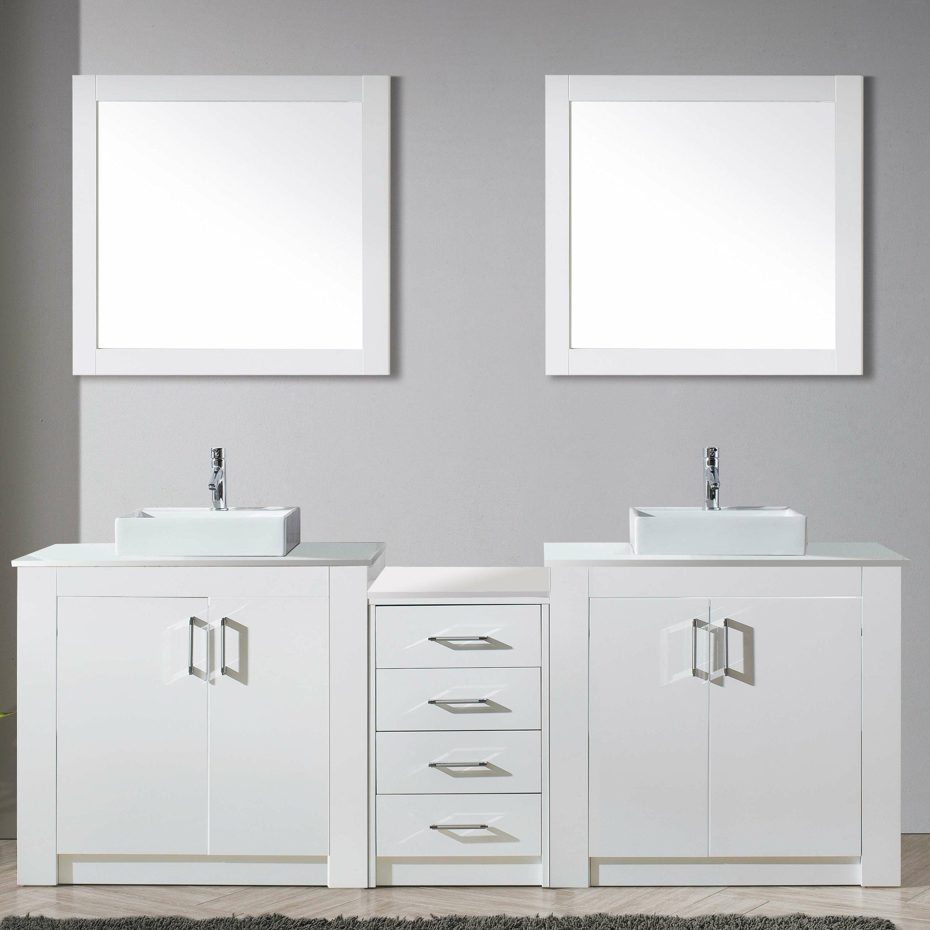 Virtu tavian 93 double bathroom vanity set with stone and for Vanity and mirror set