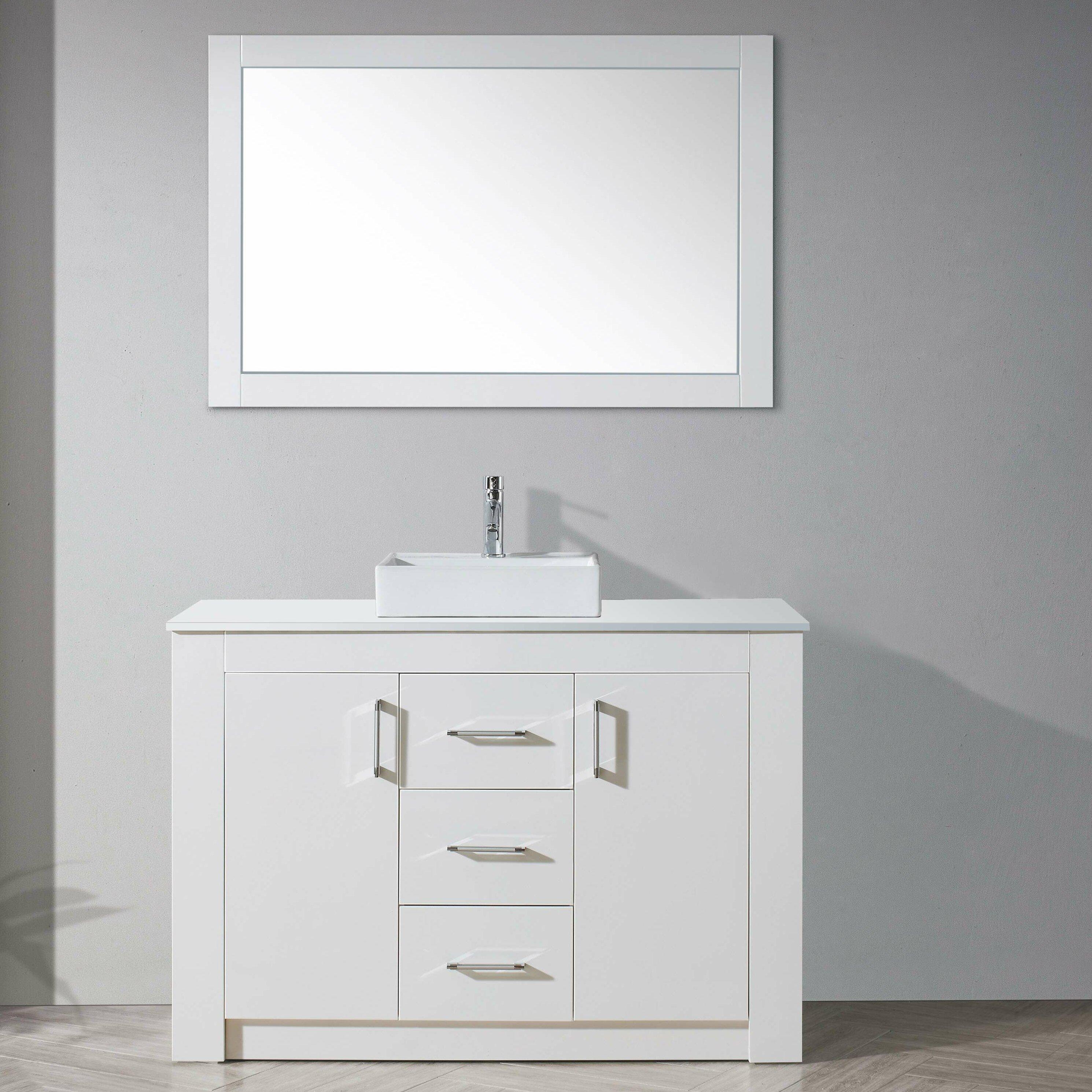 Virtu tavian 48 single bathroom vanity set with stone and for Vanity and mirror set